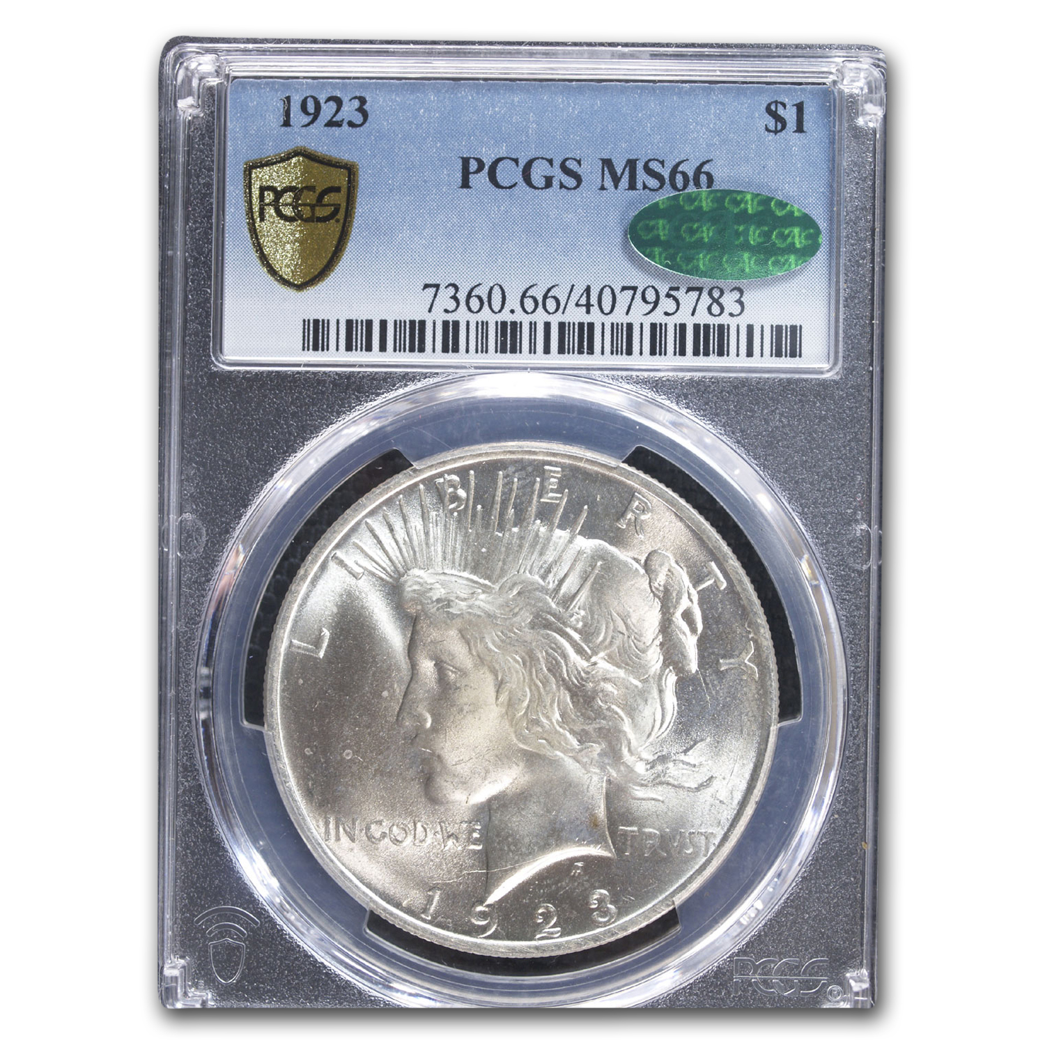 1923 Peace Dollar MS-66 PCGS (CAC, Rainbow Toning)