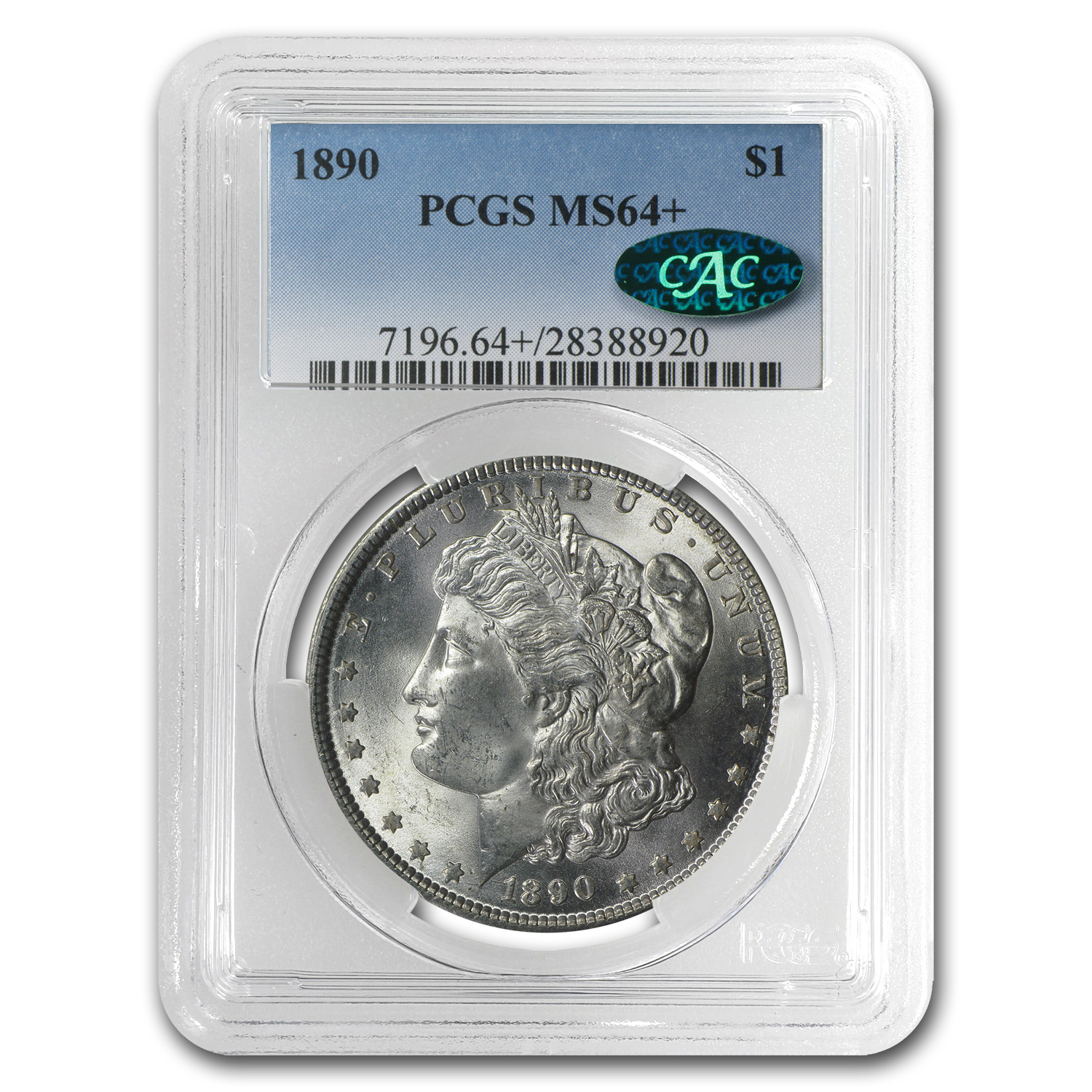 1890 Morgan Dollar - MS-64+ Plus PCGS - CAC