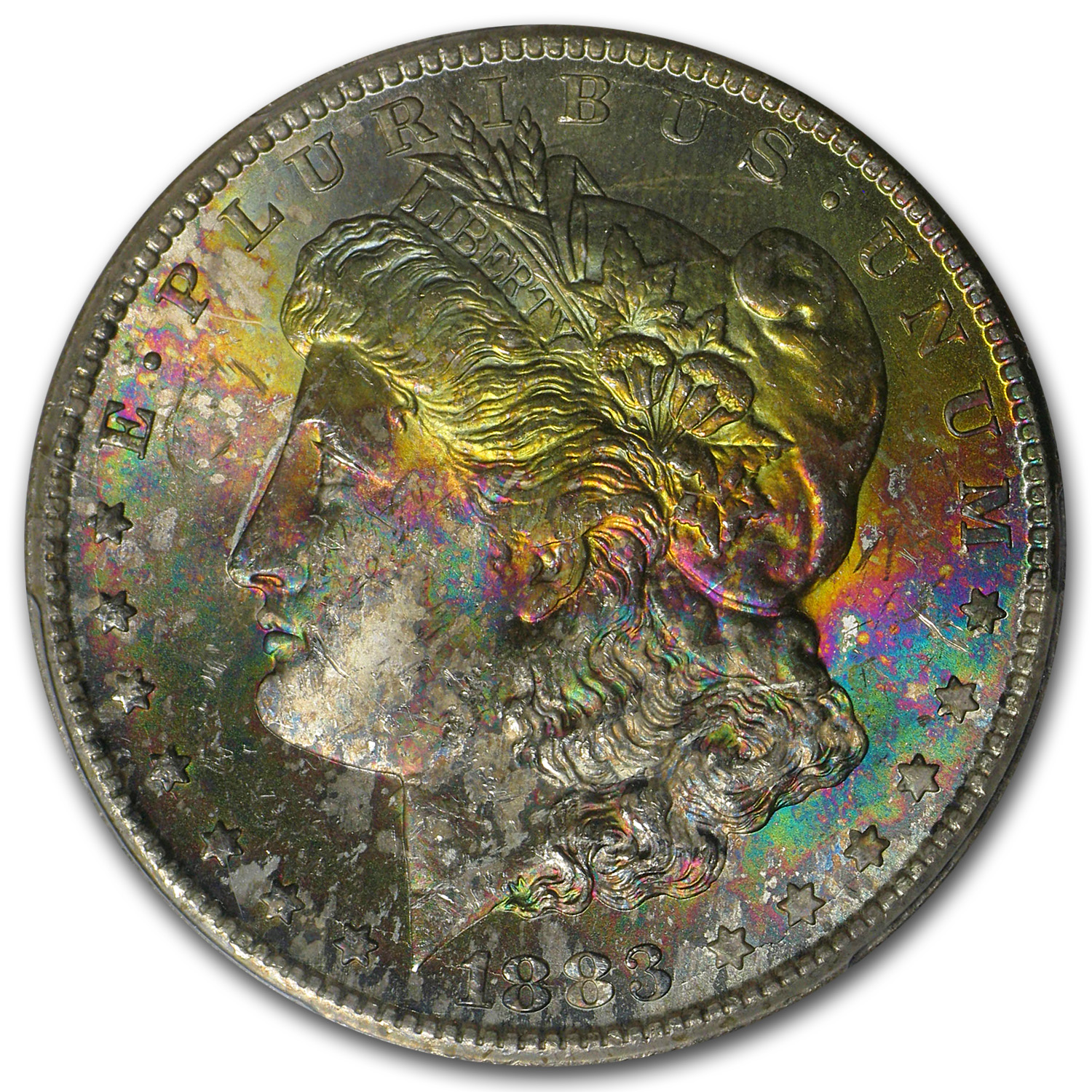 1883-CC Morgan Dollar MS-65 PCGS Beautifully Toned Obverse - CAC