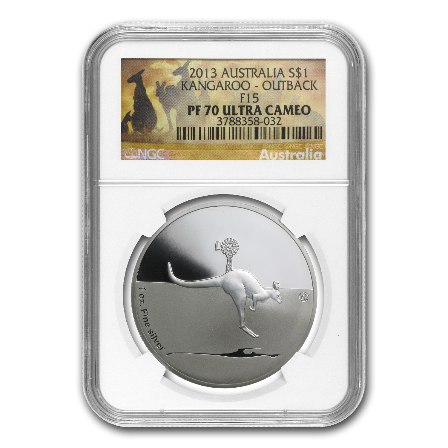 2013 1 oz Proof Silver Kangaroo in Outback F15 Privy PF-70 NGC