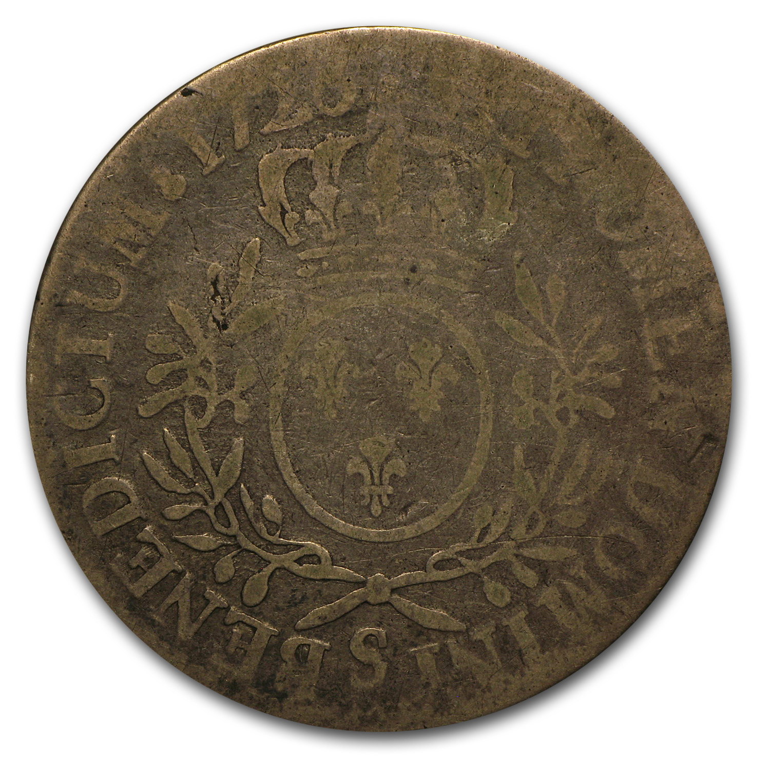 France 1726 S Silver Ecu Louis XV (VG-F)