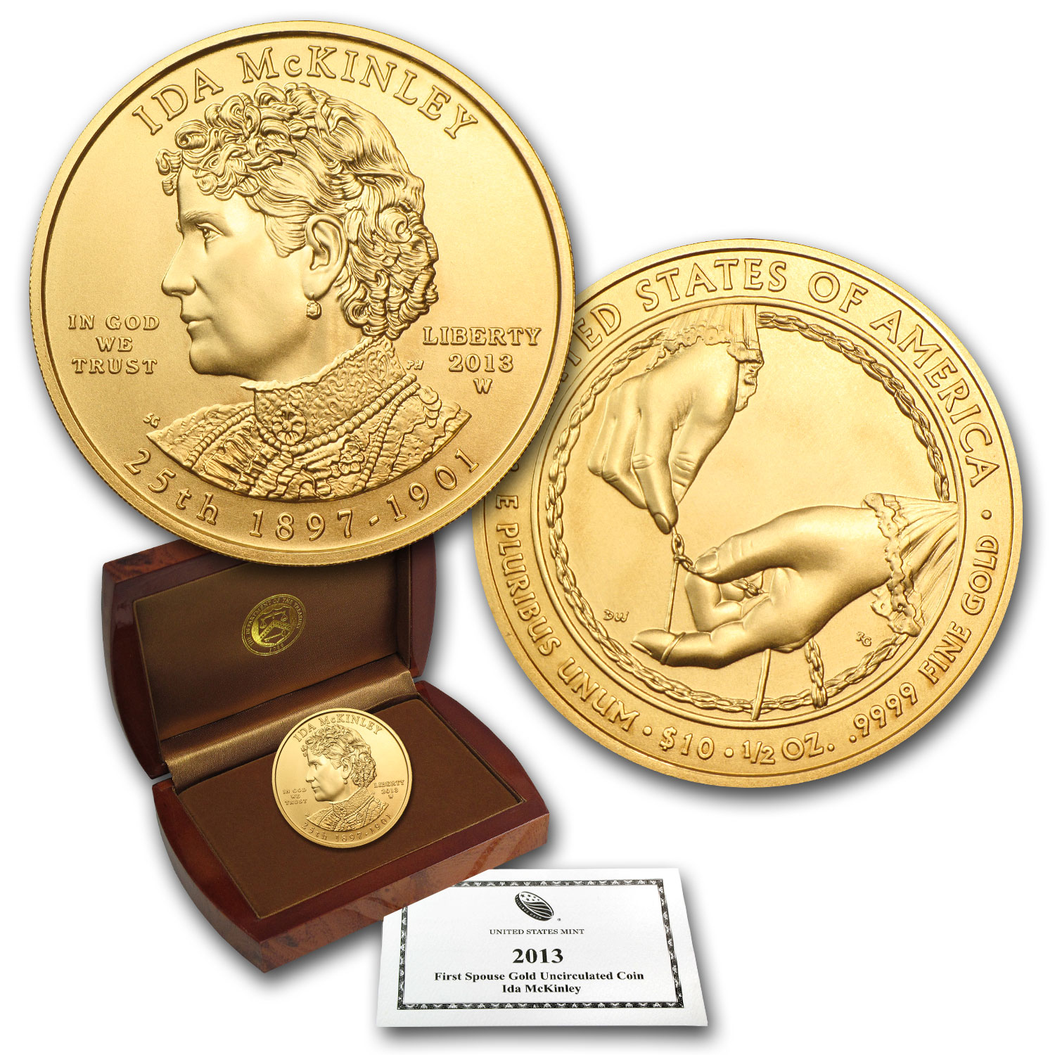 2013-W 1/2 oz Uncirculated Gold Ida McKinley (w/Box & CoA)
