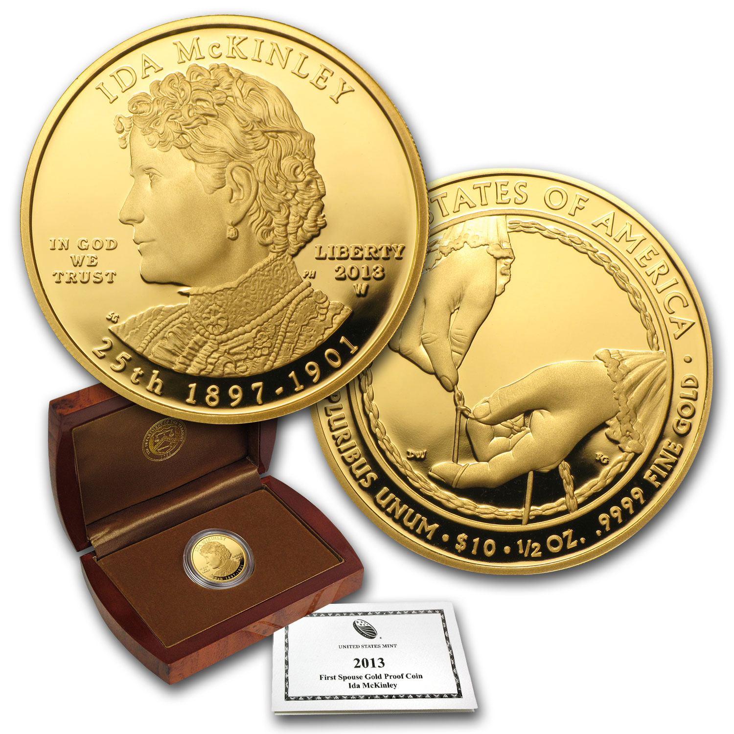 2013-W 1/2 oz Proof Gold Ida McKinley (w/Box & COA)