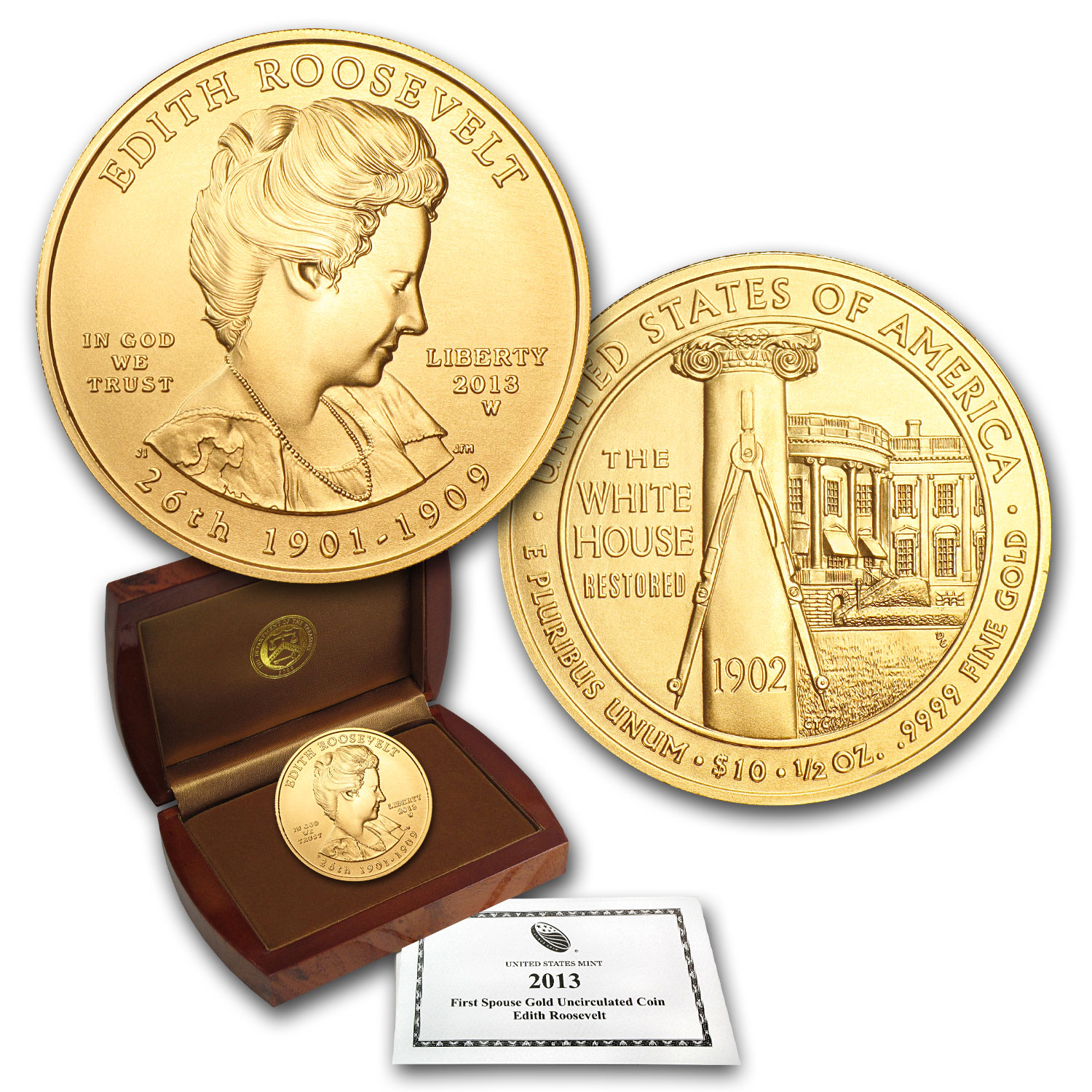 2013-W 1/2 oz Gold Edith Roosevelt BU (w/Box & COA)