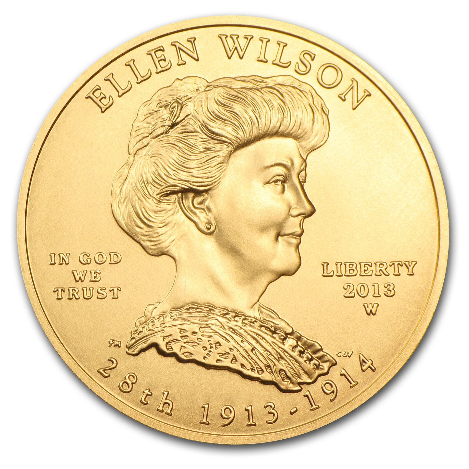 2013-W 1/2 oz Uncirculated Gold Ellen Wilson (w/Box & CoA)