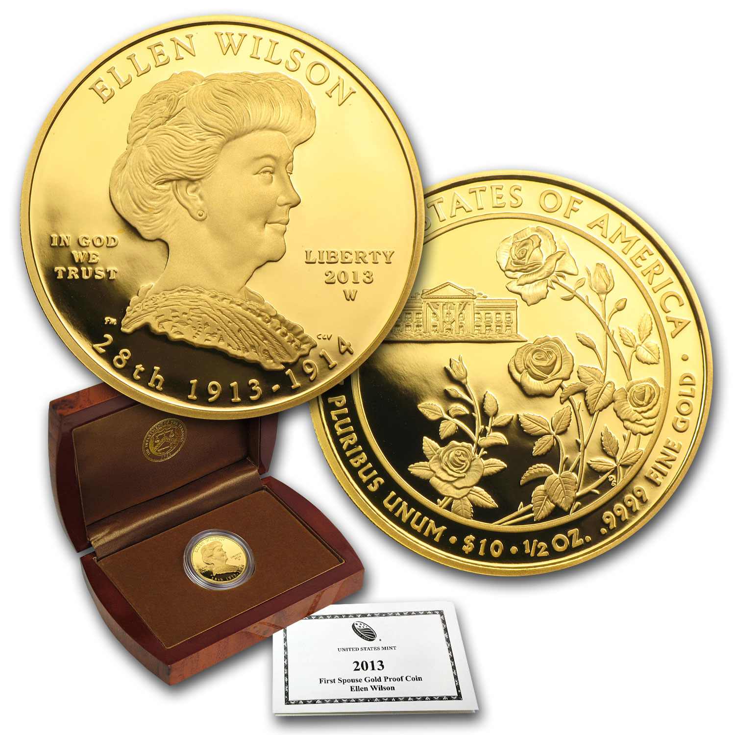 2013-W 1/2 oz Proof Gold Ellen Wilson (w/Box & COA)