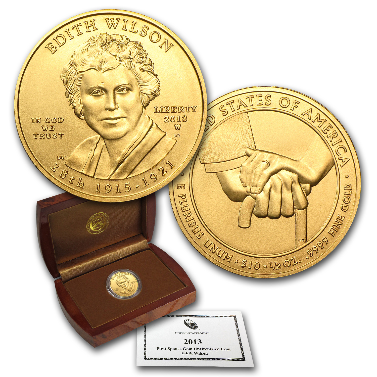 2013-W 1/2 oz Gold Edith Wilson BU (w/Box & COA)