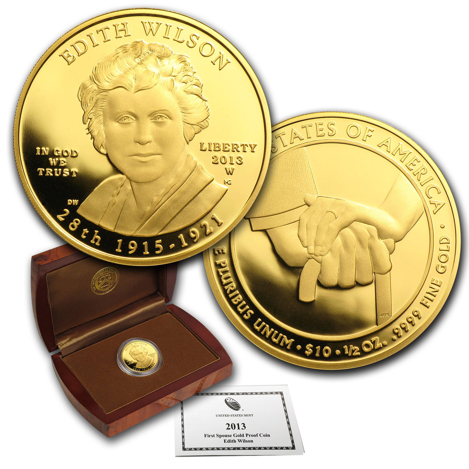 2013-W 1/2 oz Proof Gold Edith Wilson (w/Box & COA)