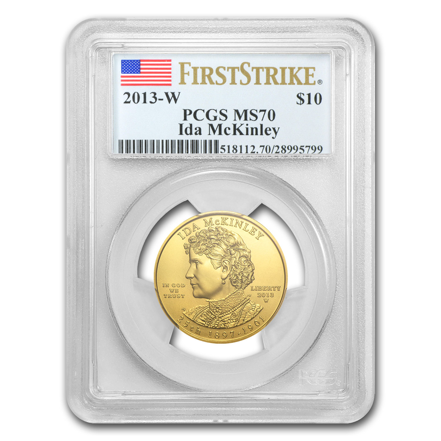 2013-W 1/2 oz Gold Ida McKinley MS-70 PCGS (First Strike)