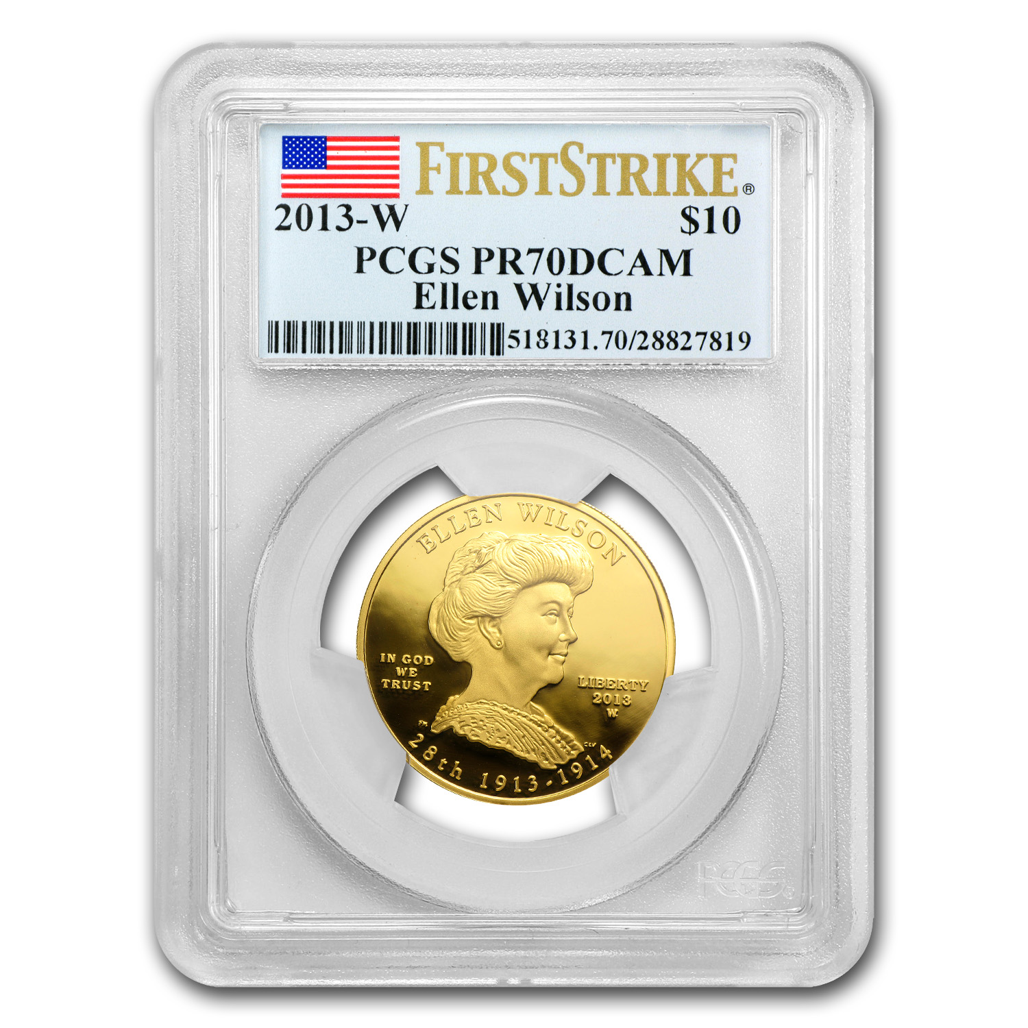 2013-W 1/2 oz Proof Gold Ellen Wilson PR-70 PCGS (FS)