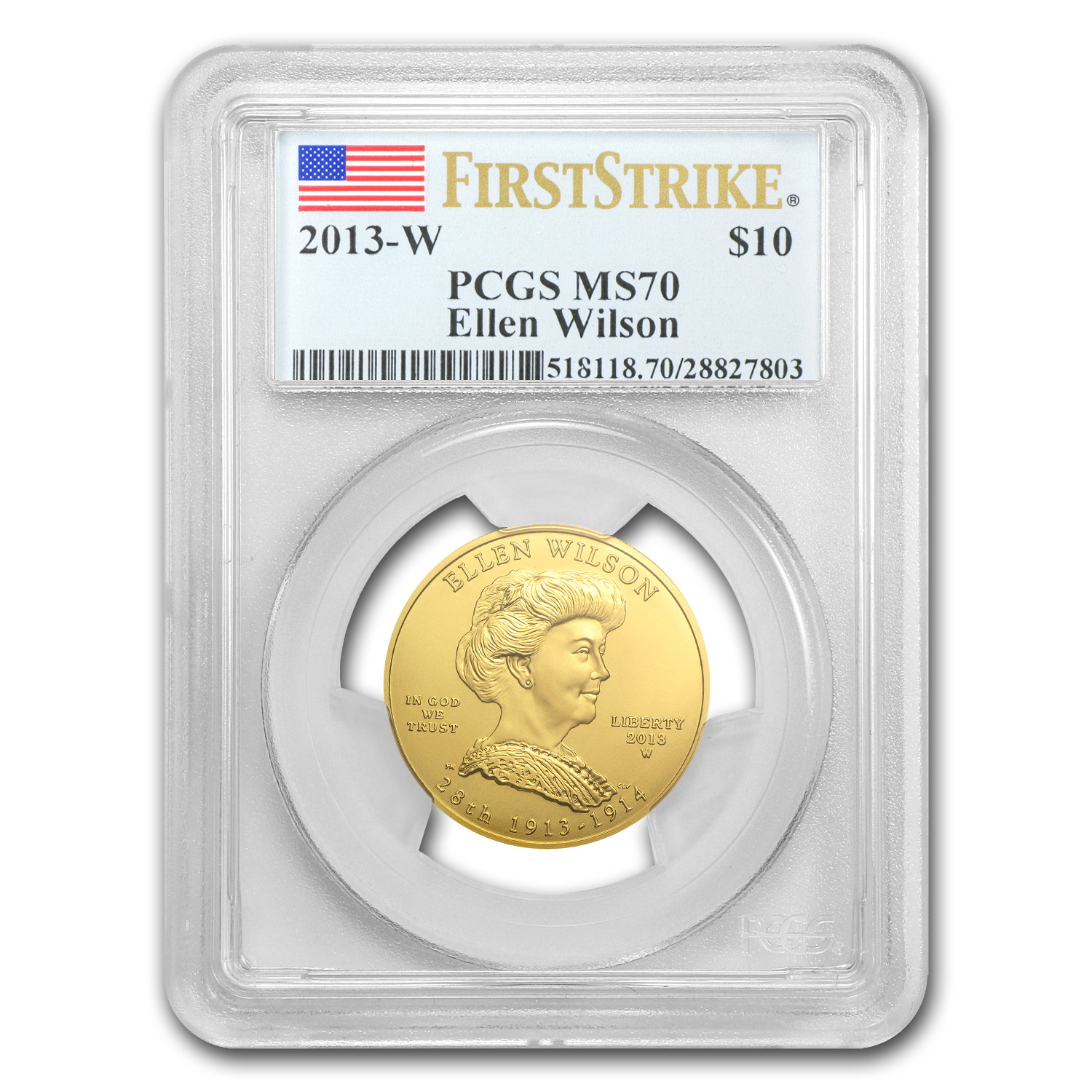 2013-W 1/2 oz Gold Ellen Wilson MS-70 PCGS (First Strike)