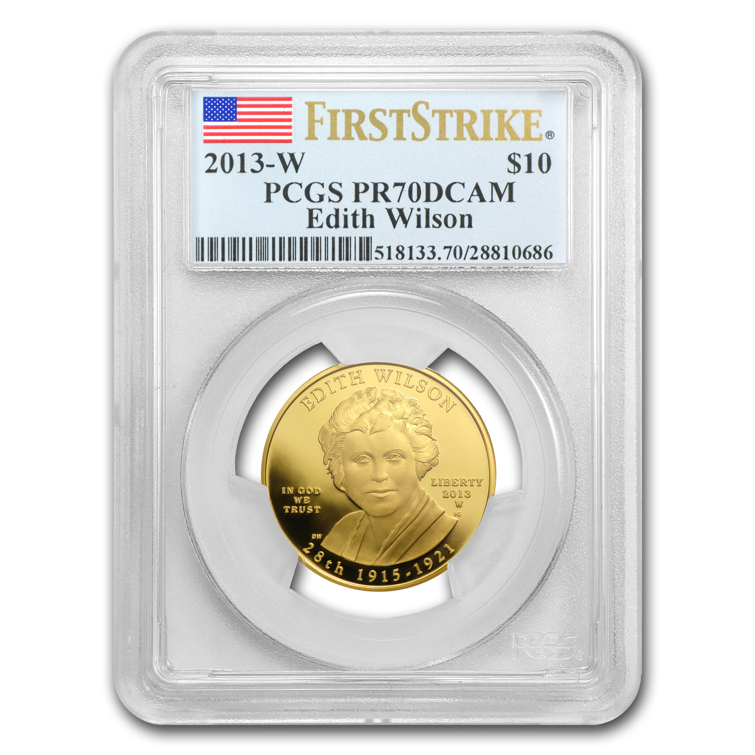 2013-W 1/2 oz Proof Gold Edith Wilson PR-70 PCGS (FS)