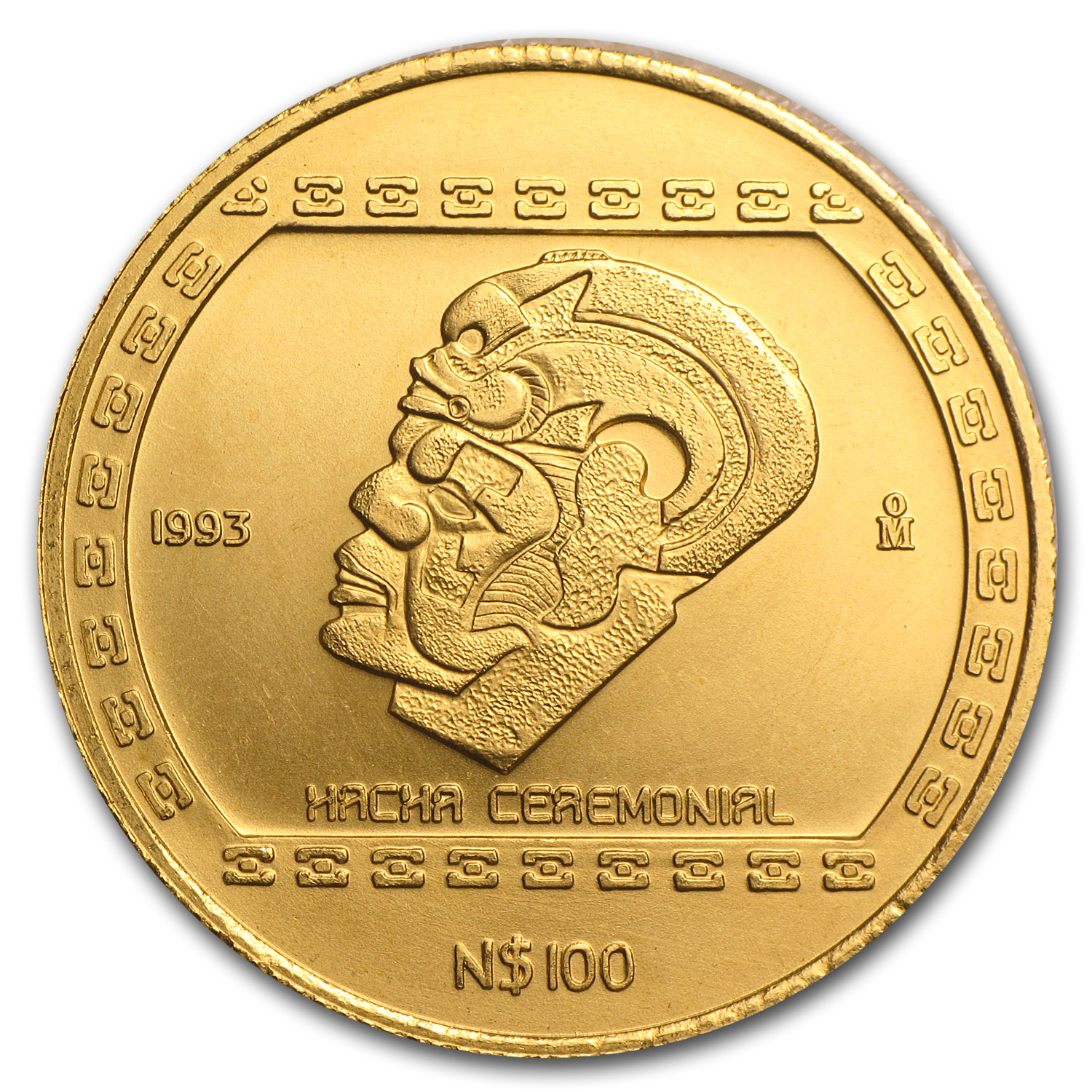 1993 Mexico 100 Pesos Gold Hacha Ceremonial BU
