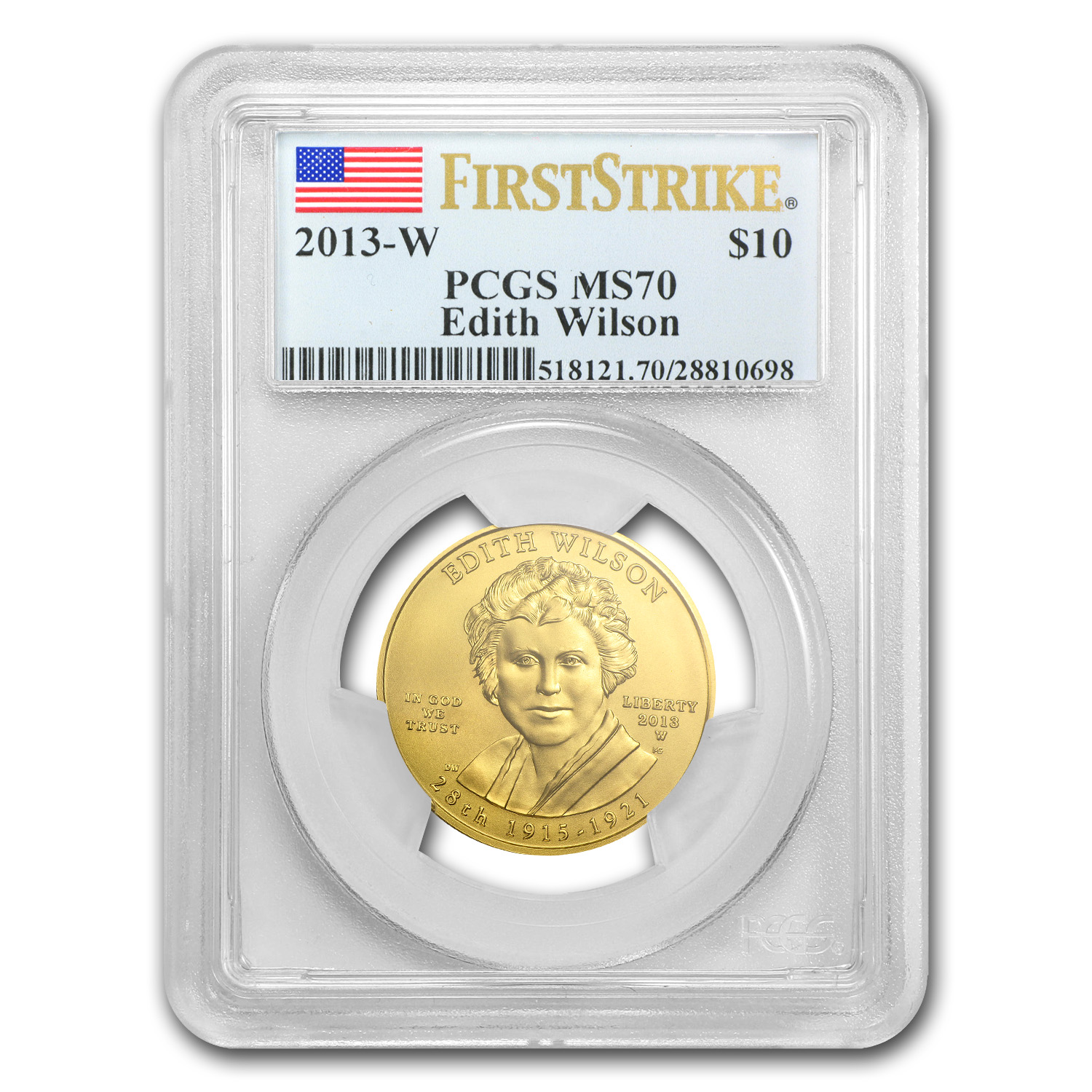 2013-W 1/2 oz Gold Edith Wilson MS-70 PCGS (First Strike)