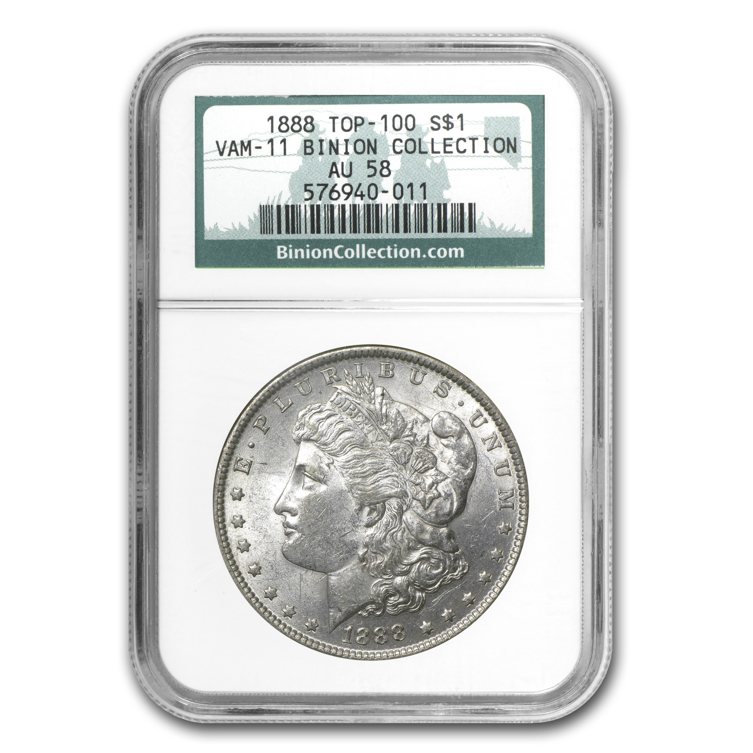 1888 Morgan Dollar AU-58 NGC (VAM-11, Binion Collection)