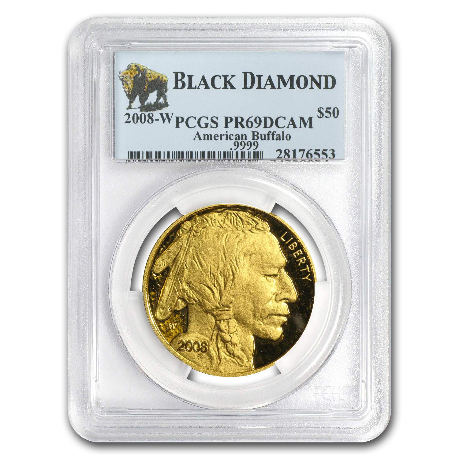 2008-W 1 oz Proof Gold Buffalo PR-69 PCGS (Black Diamond)