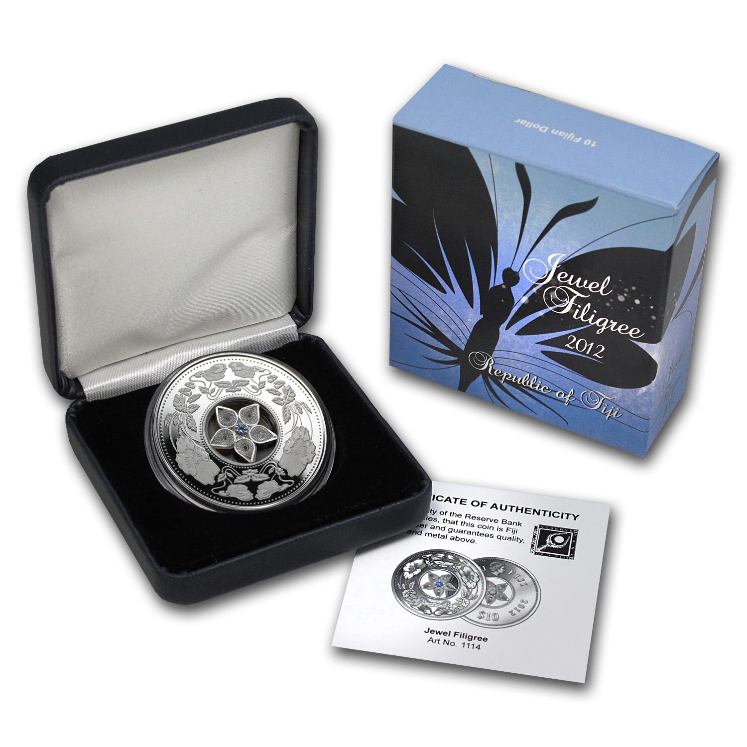 Fiji 2012 Silver $10 Jewel Filigree Zirconia