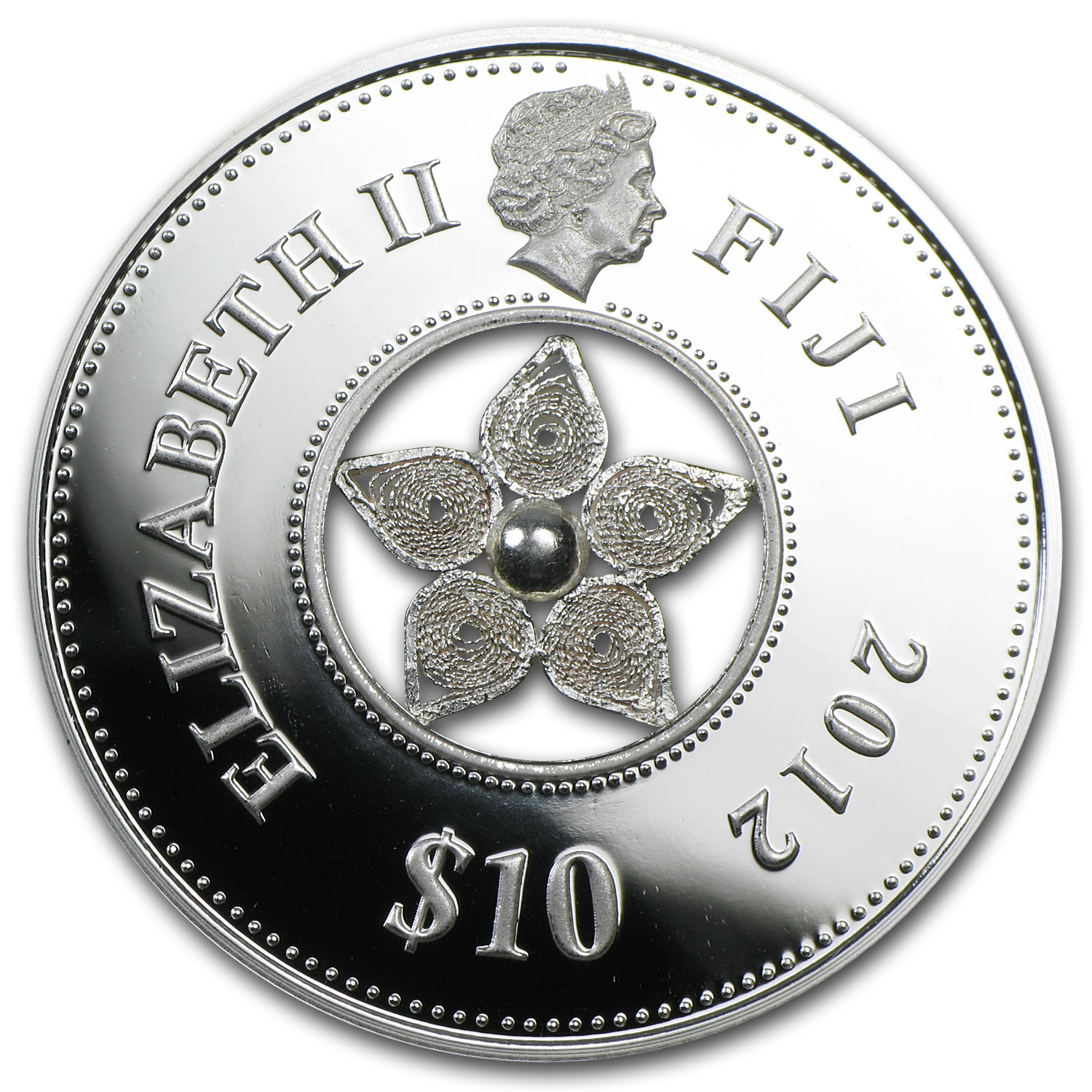 Fiji 2012 Silver $10 Jewel Filigree Zirconia (Box Torn)