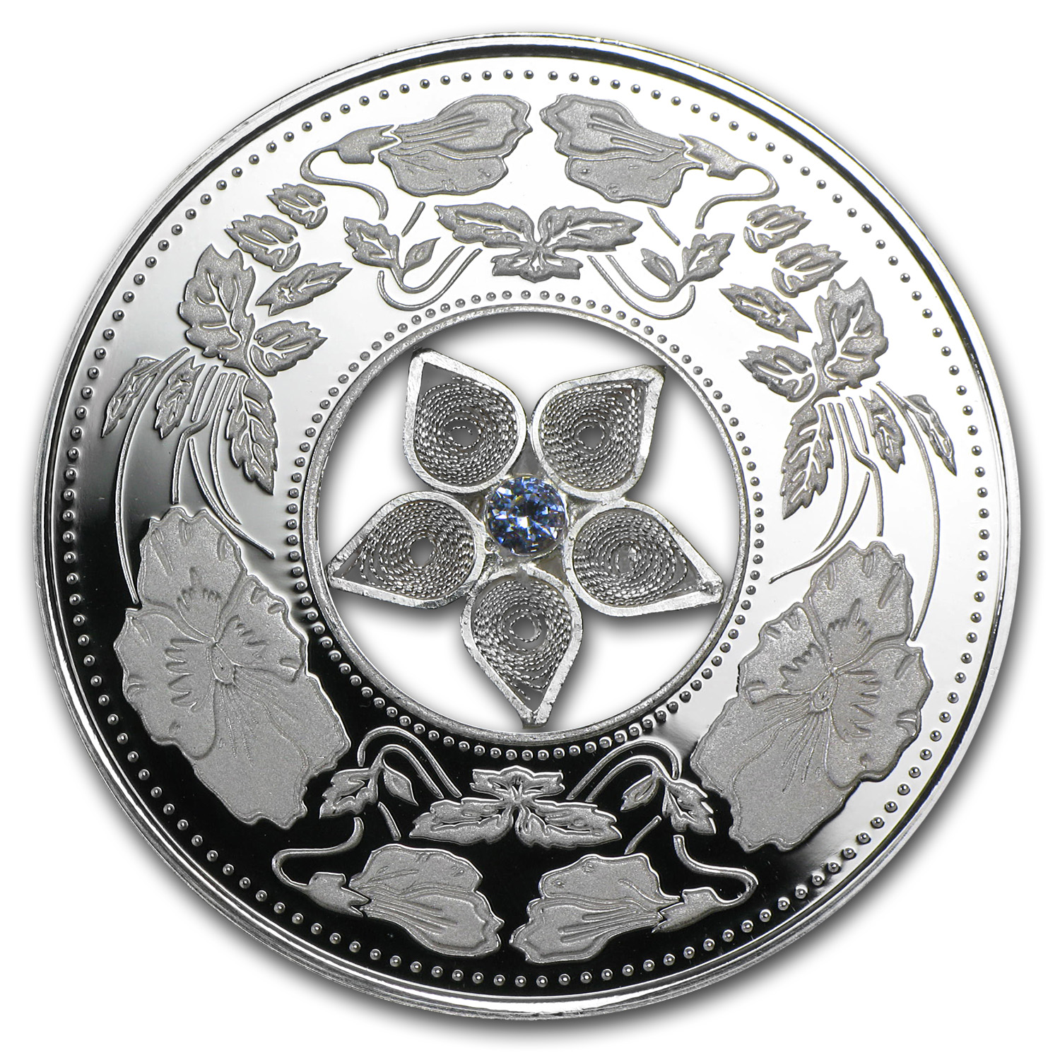 2012 Fiji Silver $10 Jewel Filigree Zirconia (Box Torn)