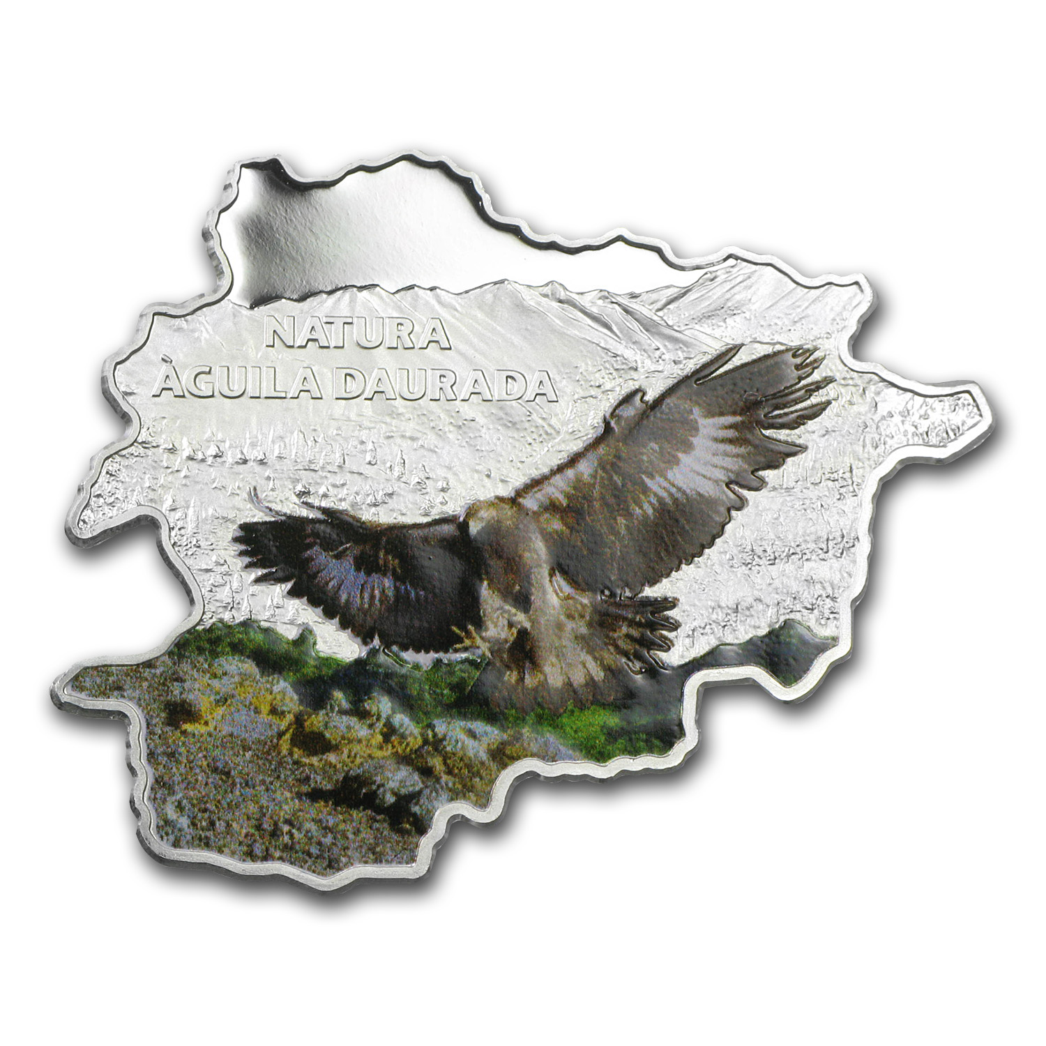 2013 Andorra Proof Silver Nature Treasure Map Shape Eagle
