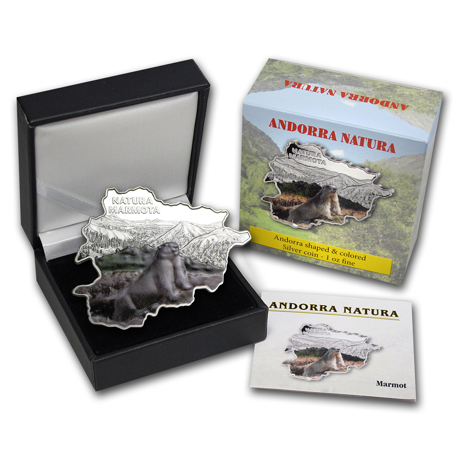 2013 Andorra Proof Silver Nature Treasure Map Shape Marmot