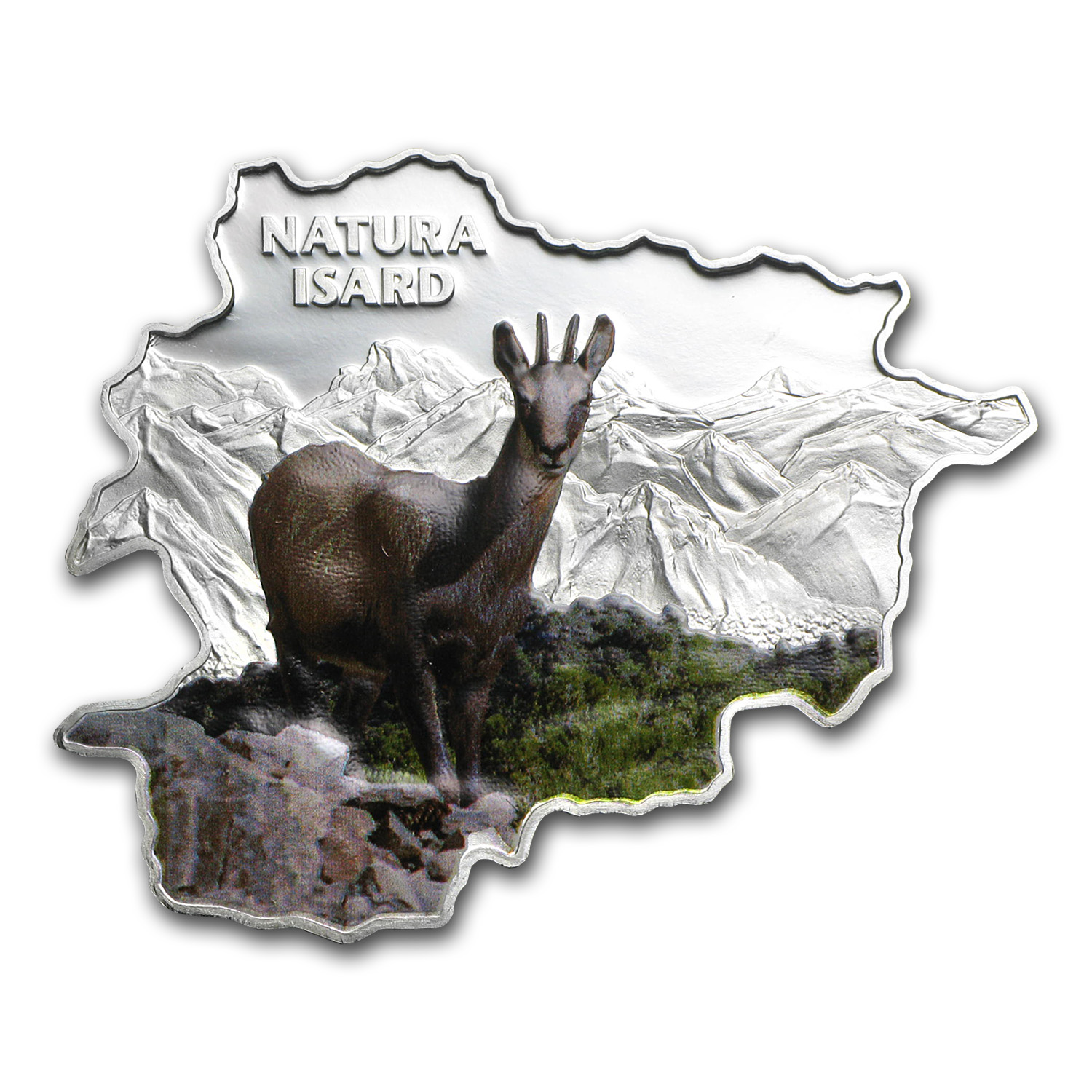 2013 Andorra Proof Silver Nature Treasure Map Shape Chamois