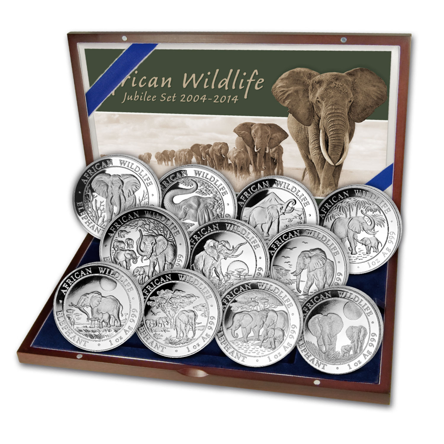 2004-2014 Somalia 1 oz Silver Elephant Anniversary Proof Set