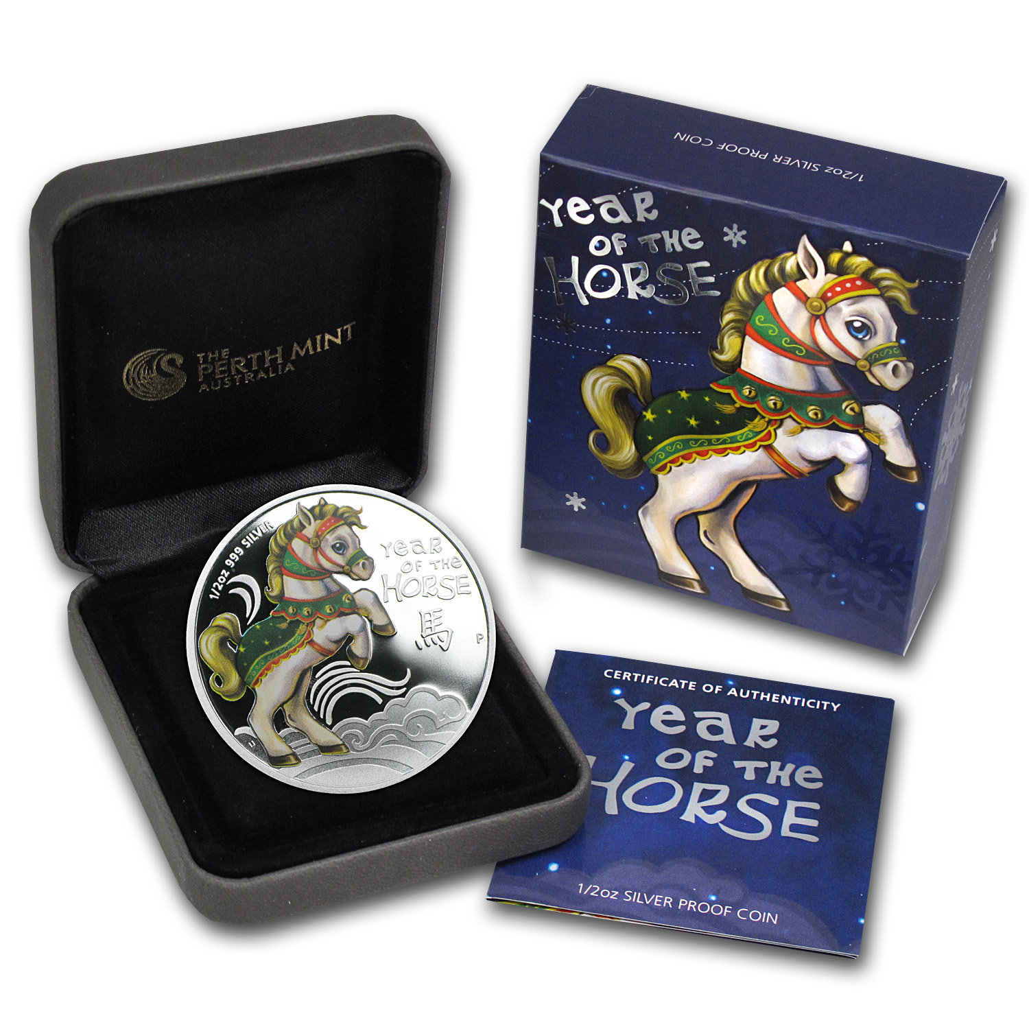 2014 Tuvalu Colorized Baby Horse 1/2 oz Silver Proof Coin
