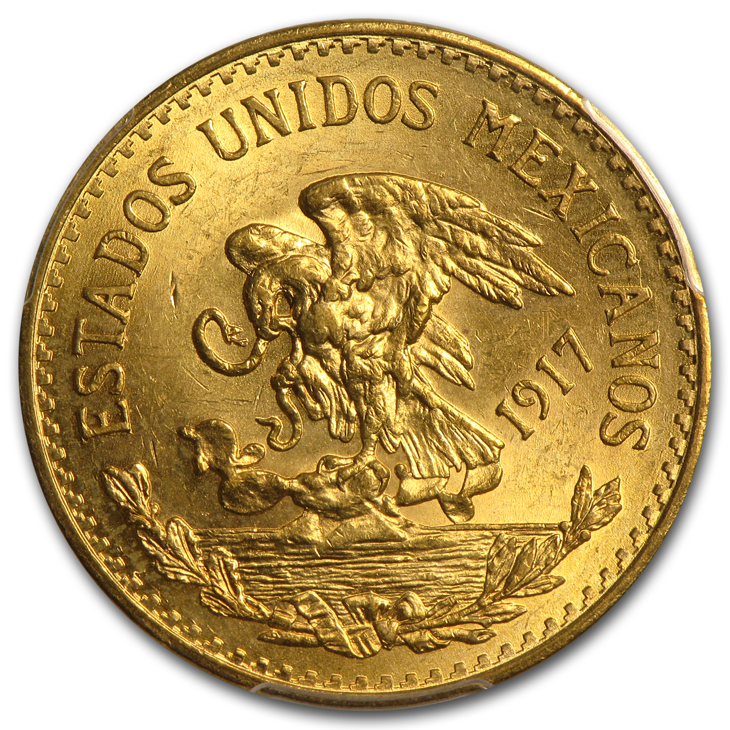 Mexico 1917 20 Pesos Gold Coin - MS-63 PCGS