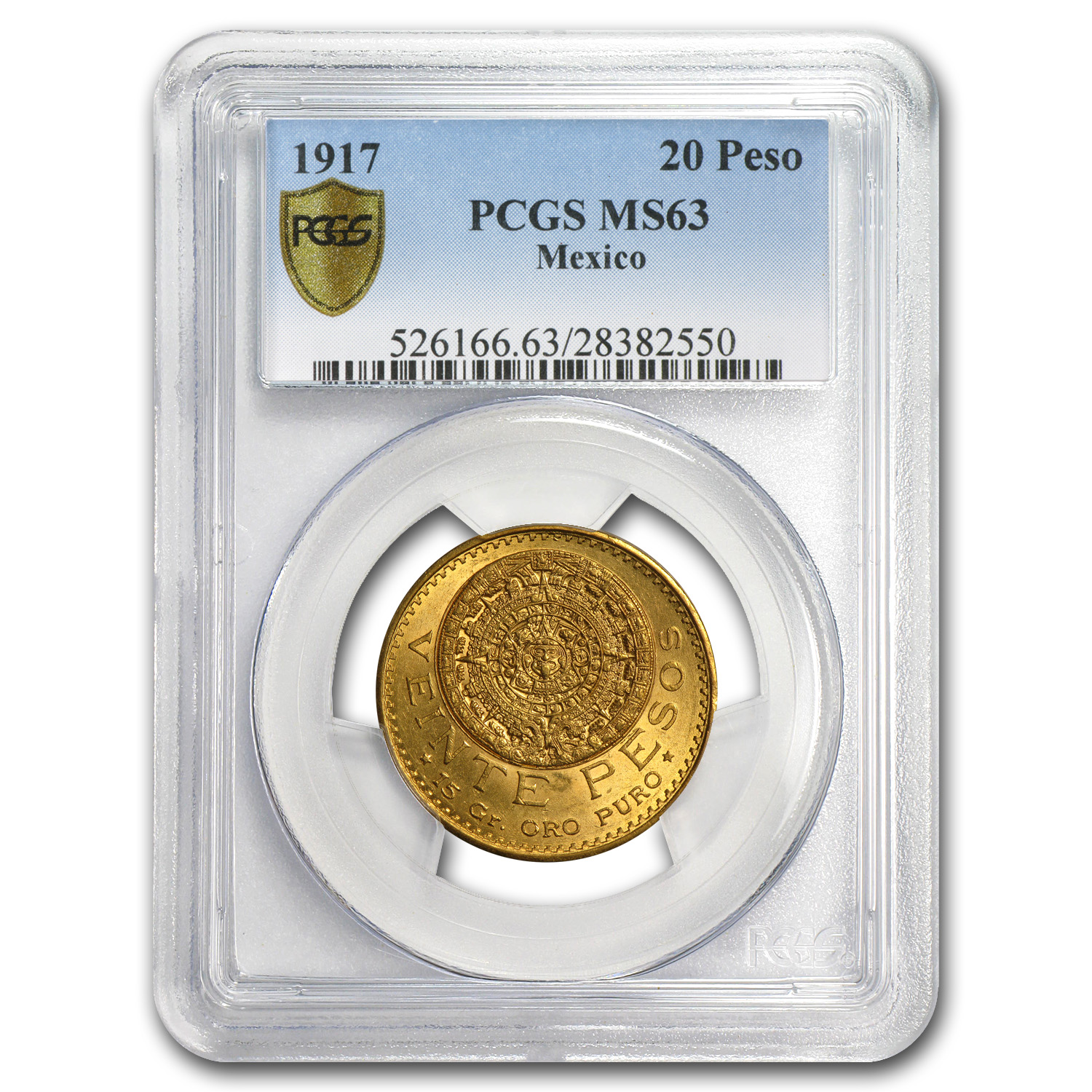 1917 Mexico Gold 20 Pesos MS-63 PCGS
