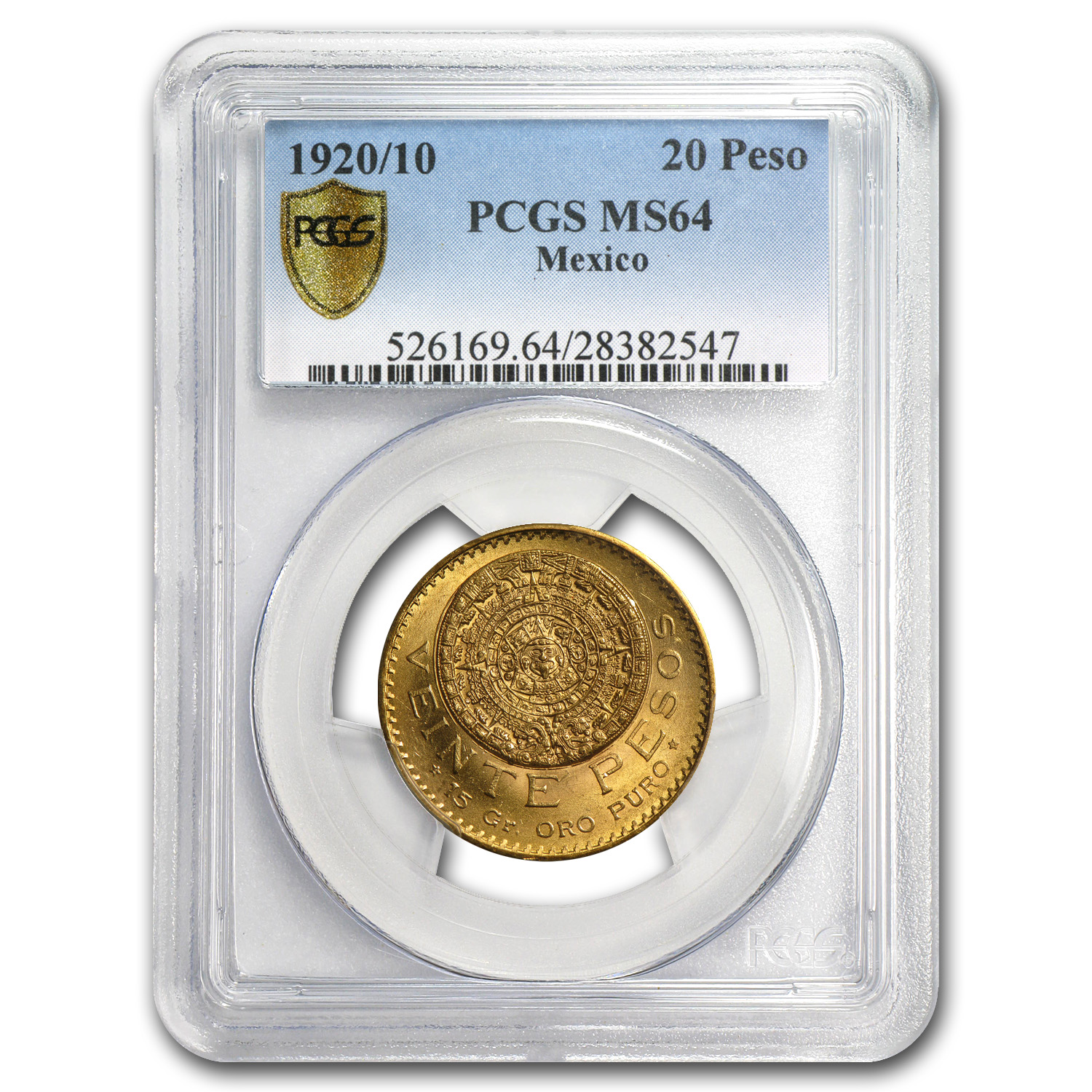 1920/10 Mexico Gold 20 Pesos MS-64 PCGS
