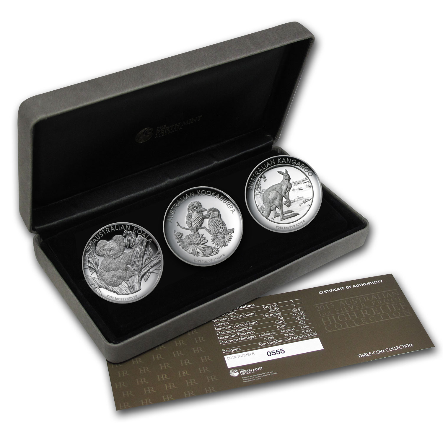 2013 Australia 3-Coin 1 oz Silver High Relief Proof Set