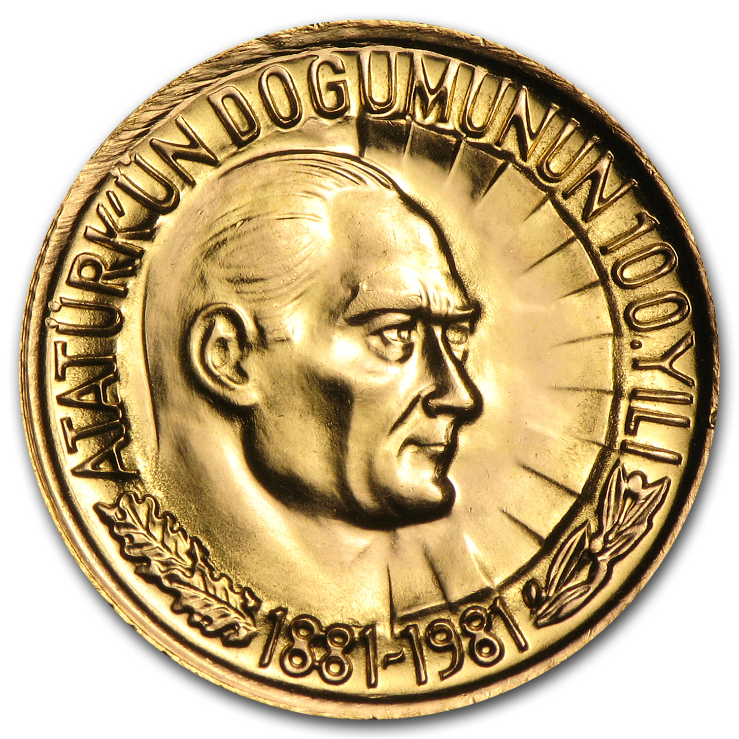 Turkey 1981 Gold 1/2 Lira (AGW .2358) Birth of Attaturk