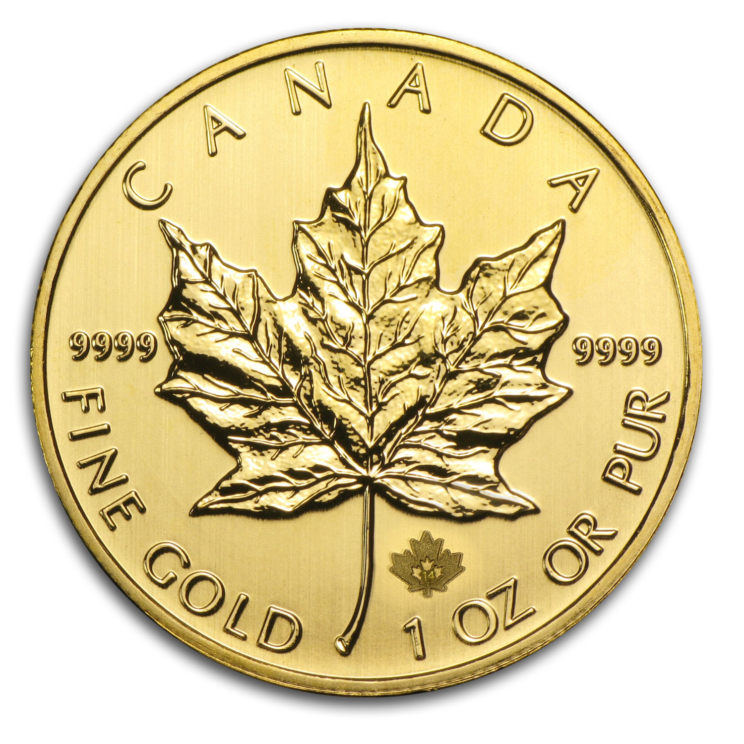 2014 1 oz Gold Canadian Maple Leaf BU