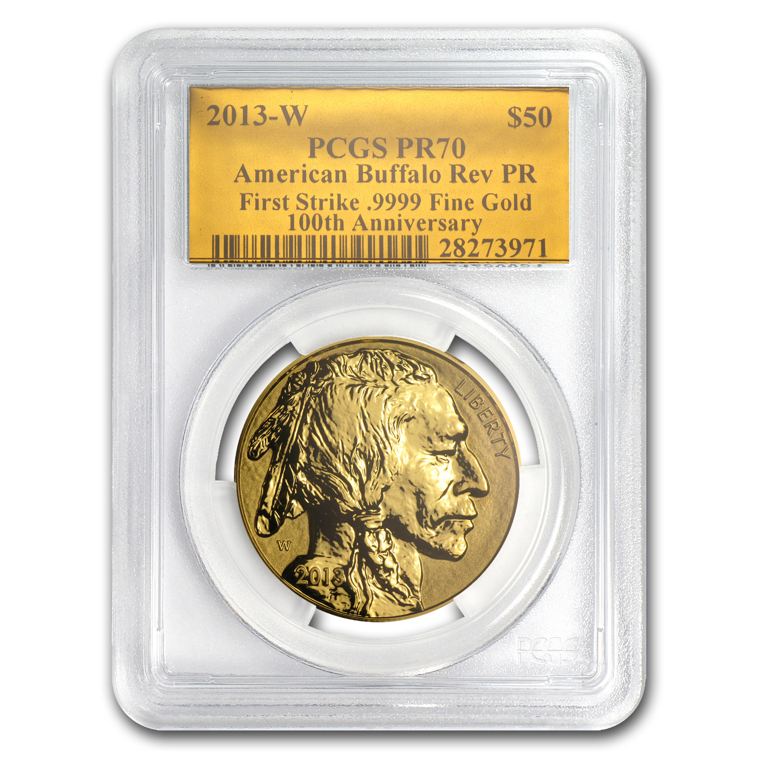 2013-W 1 oz Reverse Proof Gold Buffalo PR-70 PCGS (FS, Gold Foil)