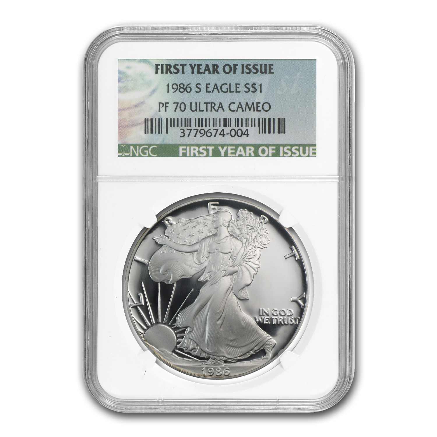 1986-S Proof Silver American Eagle PF-70 NGC (First Year)