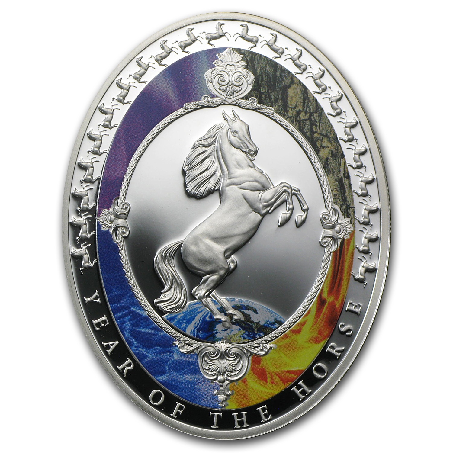 2014 1 oz Silver Year of the Horse Oval shaped Elements Proof
