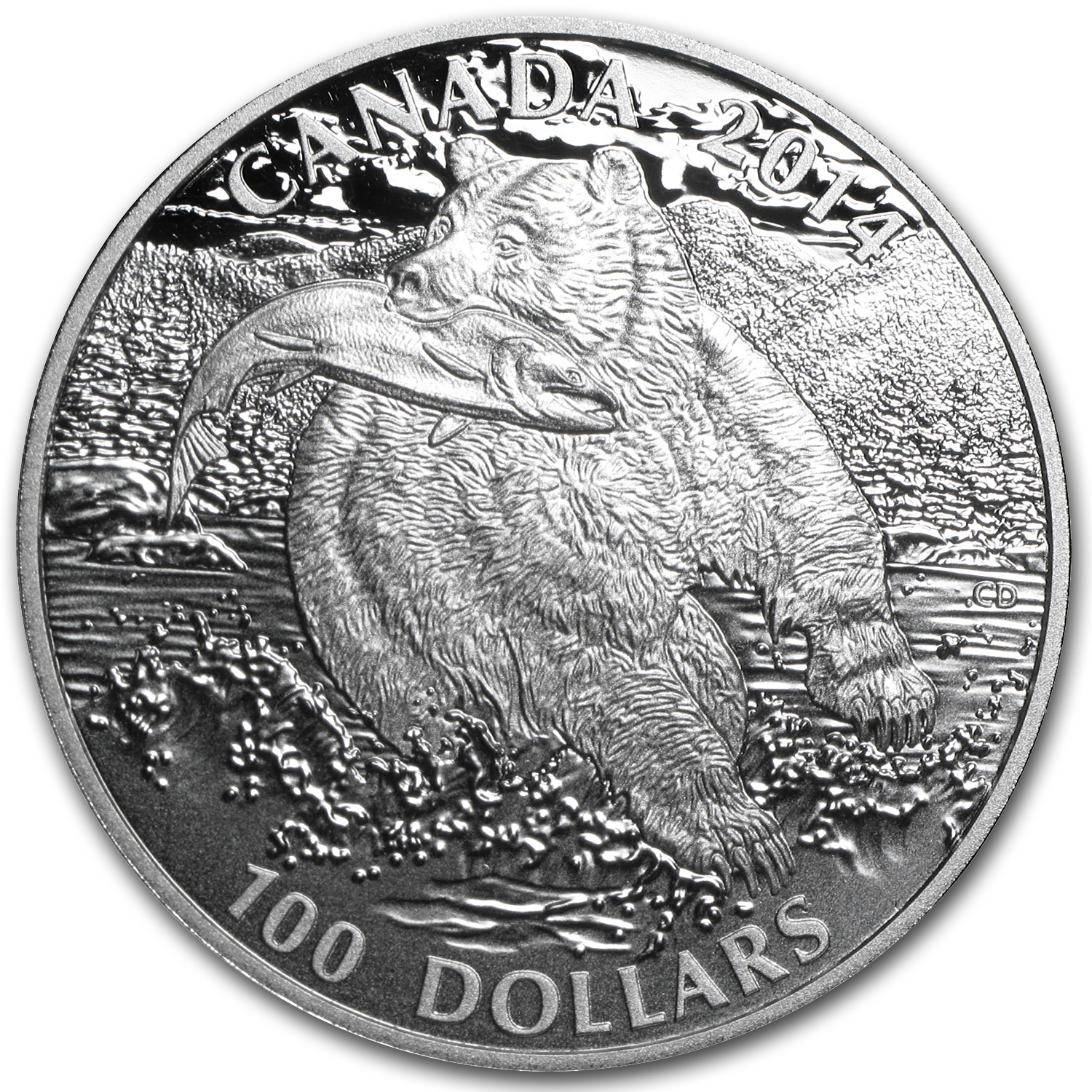 2014 1 oz Silver Canadian $100 The Grizzly Bear