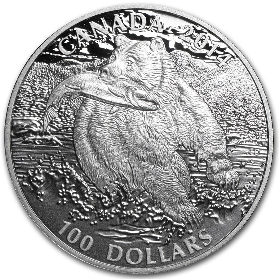 2014 Canada 1 Oz Silver 100 The Grizzly Bear 2014 Rcm