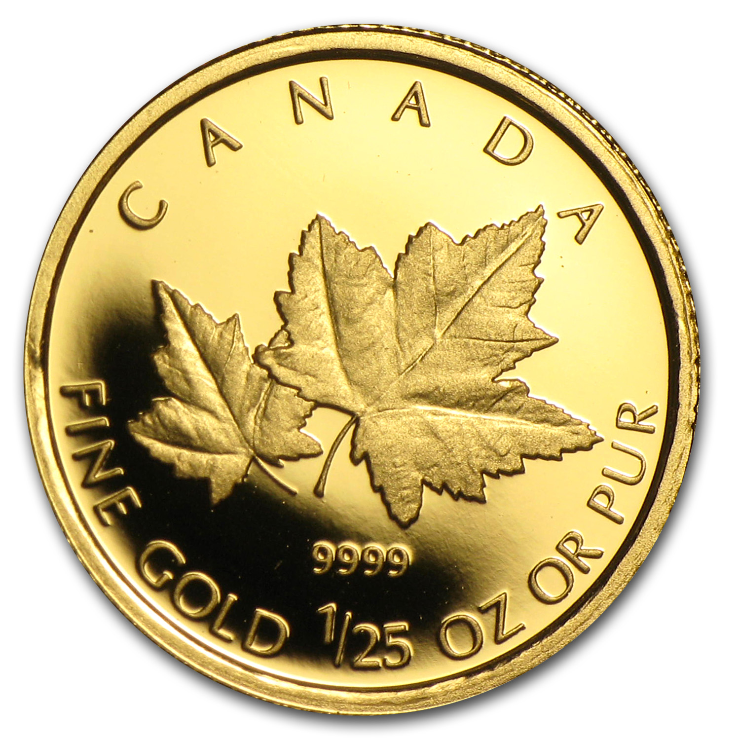 2009 Canada 1/25 oz Proof Gold $0.50 Red Maple