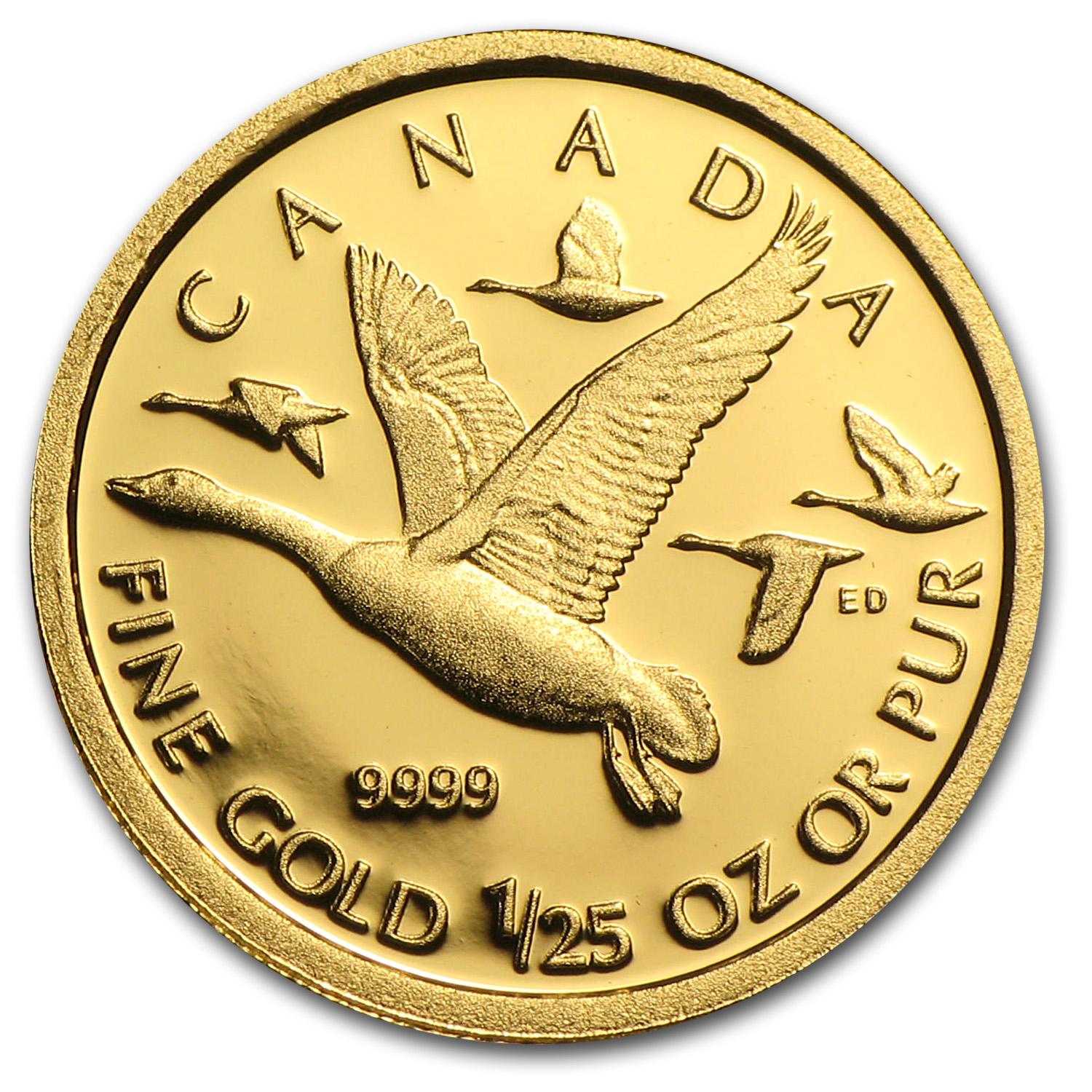 2011 1/25 oz Gold Canadian $0.50 Geese Proof (w/Box & COA)
