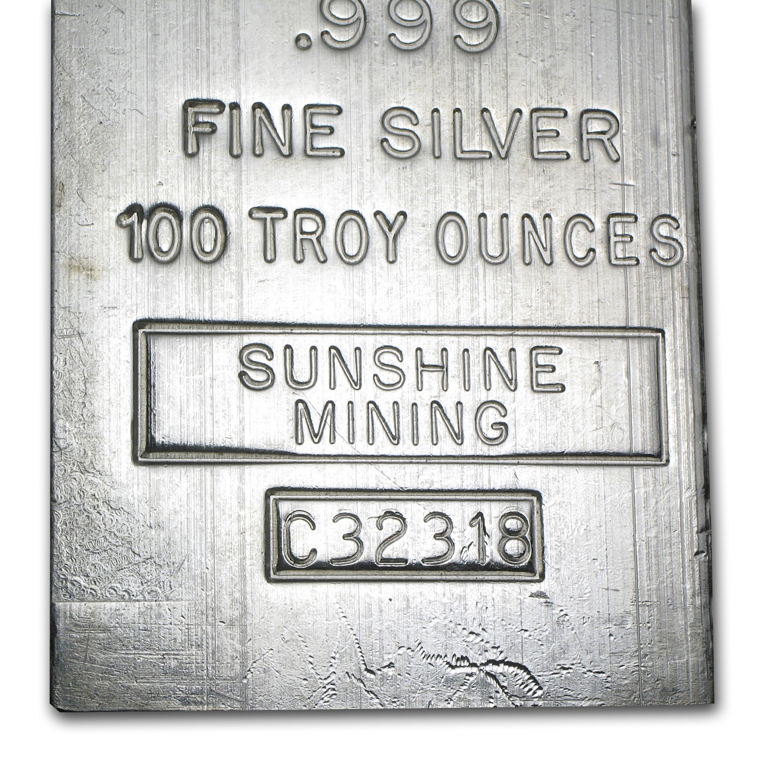 100 oz Silver Bar - Sunshine (1985/Vintage/Struck)