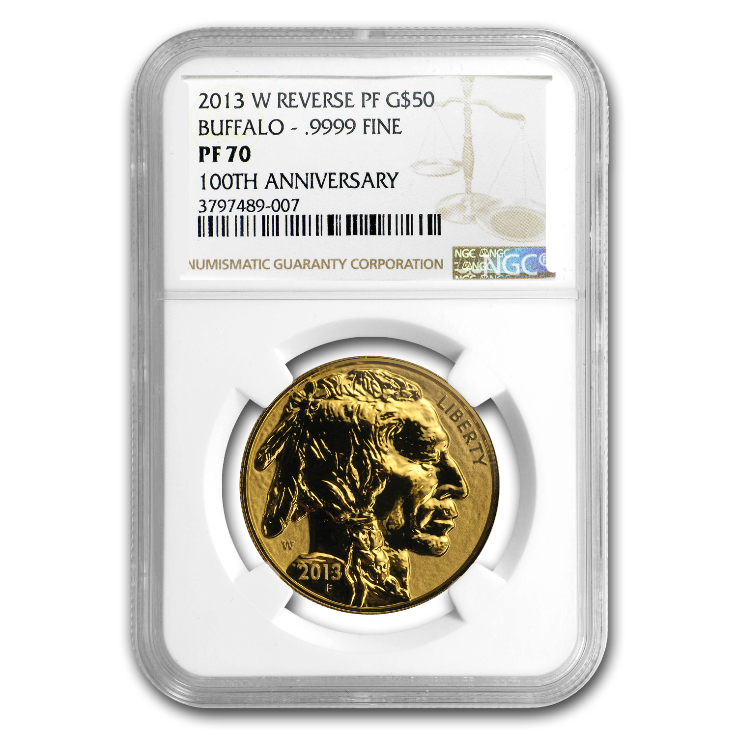 2013-W 1 oz Reverse Proof Gold Buffalo PF-70 NGC