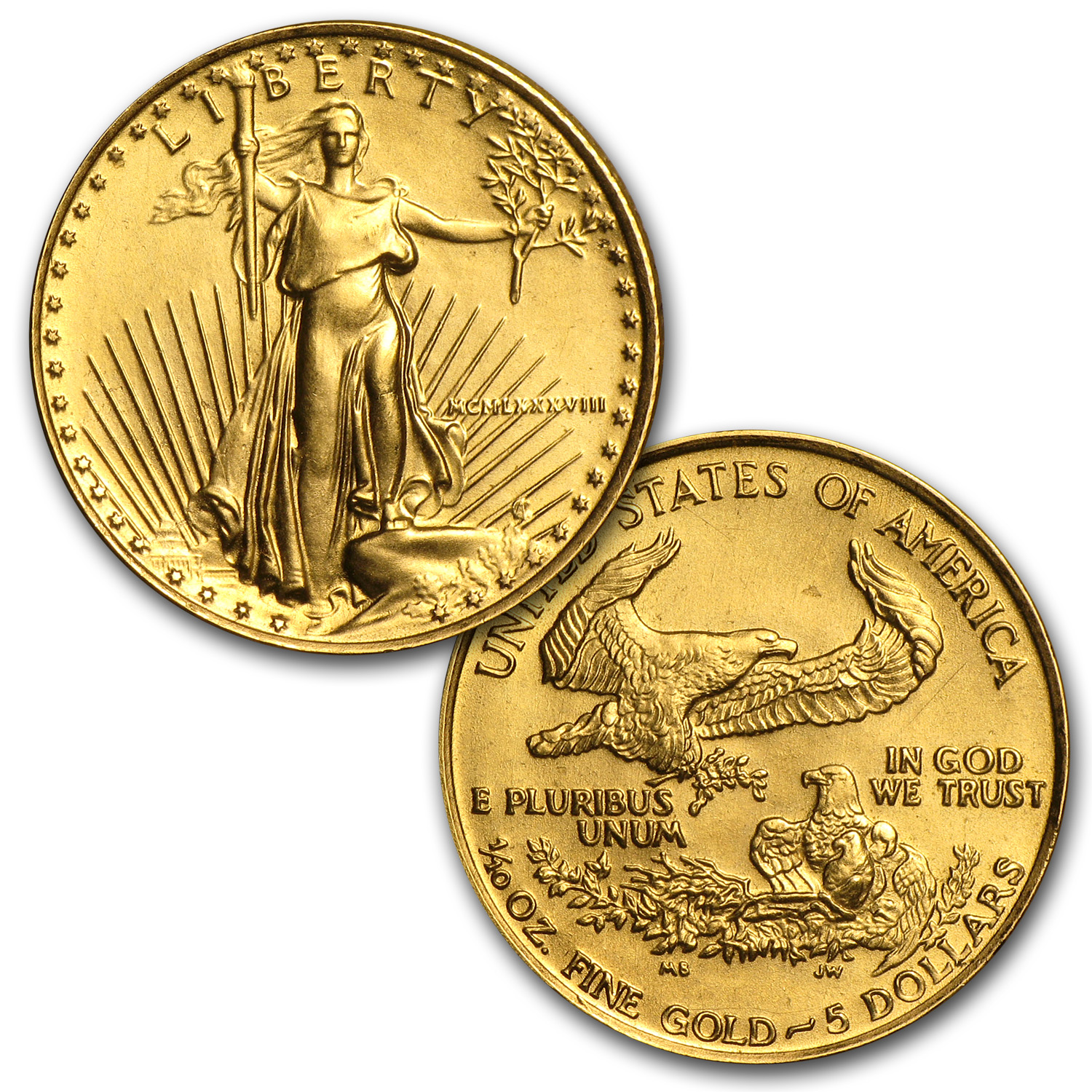 1988 4-Coin Gold American Eagle Set (BU)