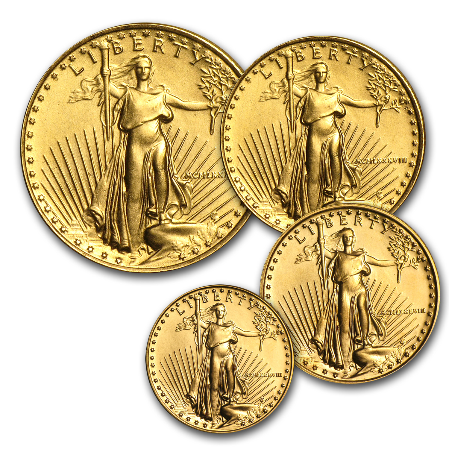 1988 4-Coin Gold American Eagle Set BU