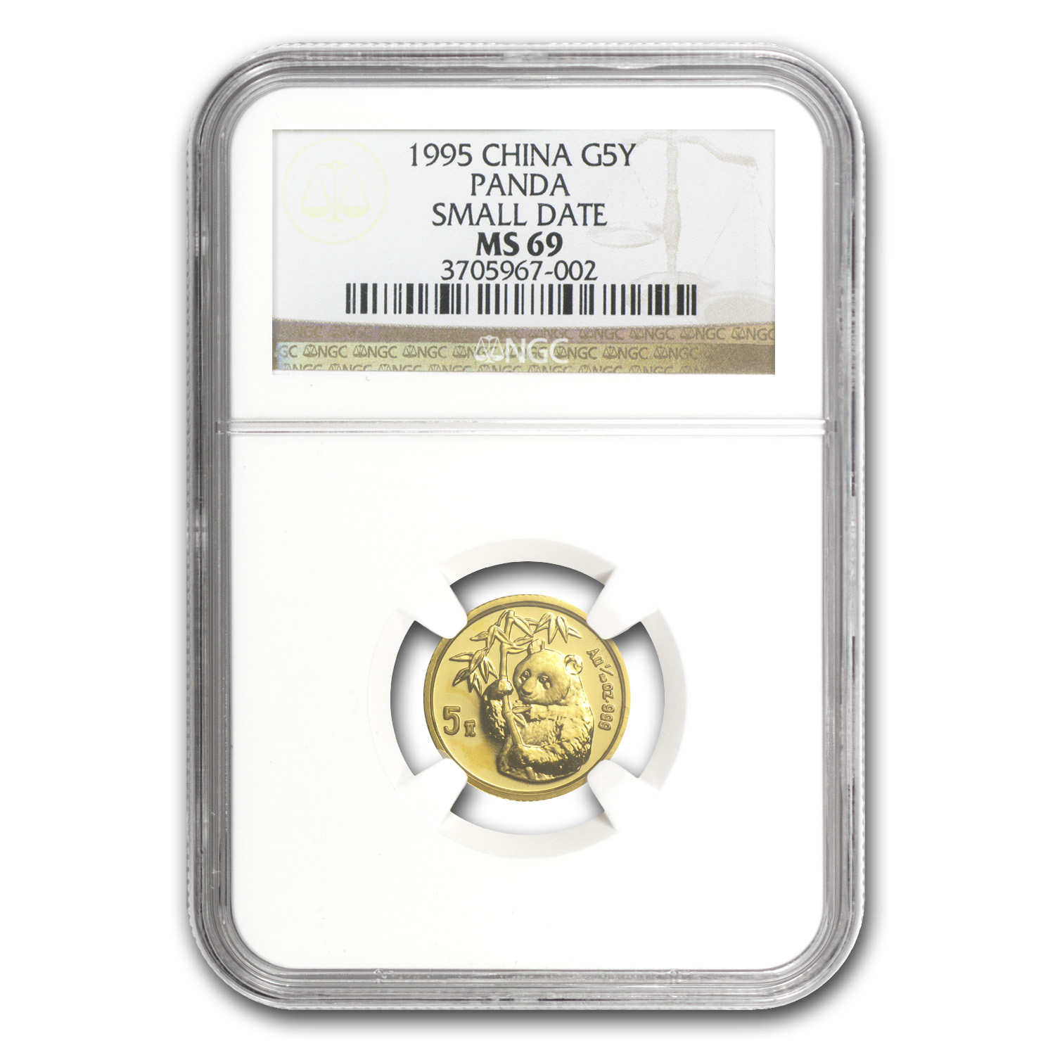 1995 (1/20 oz) Gold Chinese Pandas - Small Date MS-69 NGC