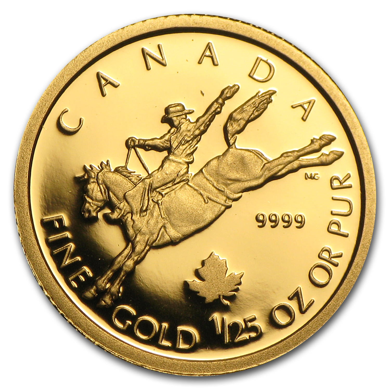 2006 Canada 1/25 oz Proof Gold $0.50 Cowboy