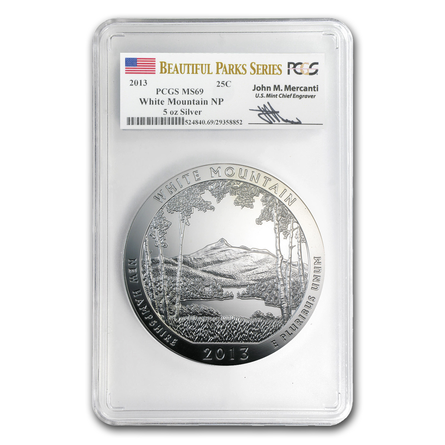 2013 5 oz Silver ATB - White Mountain MS-69 PCGS- Mercanti