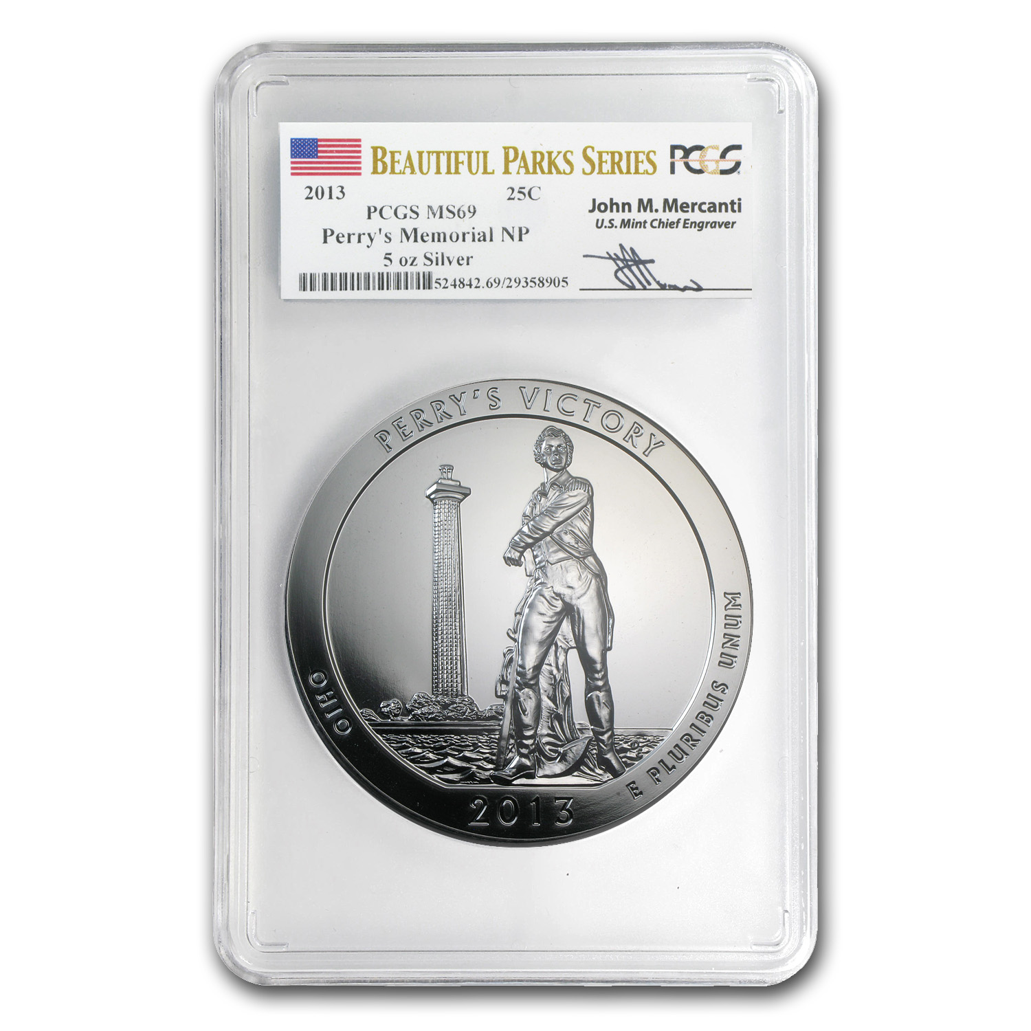 2013 5 oz Silver ATB Perry's Victory MS-69 PCGS (Mercanti)