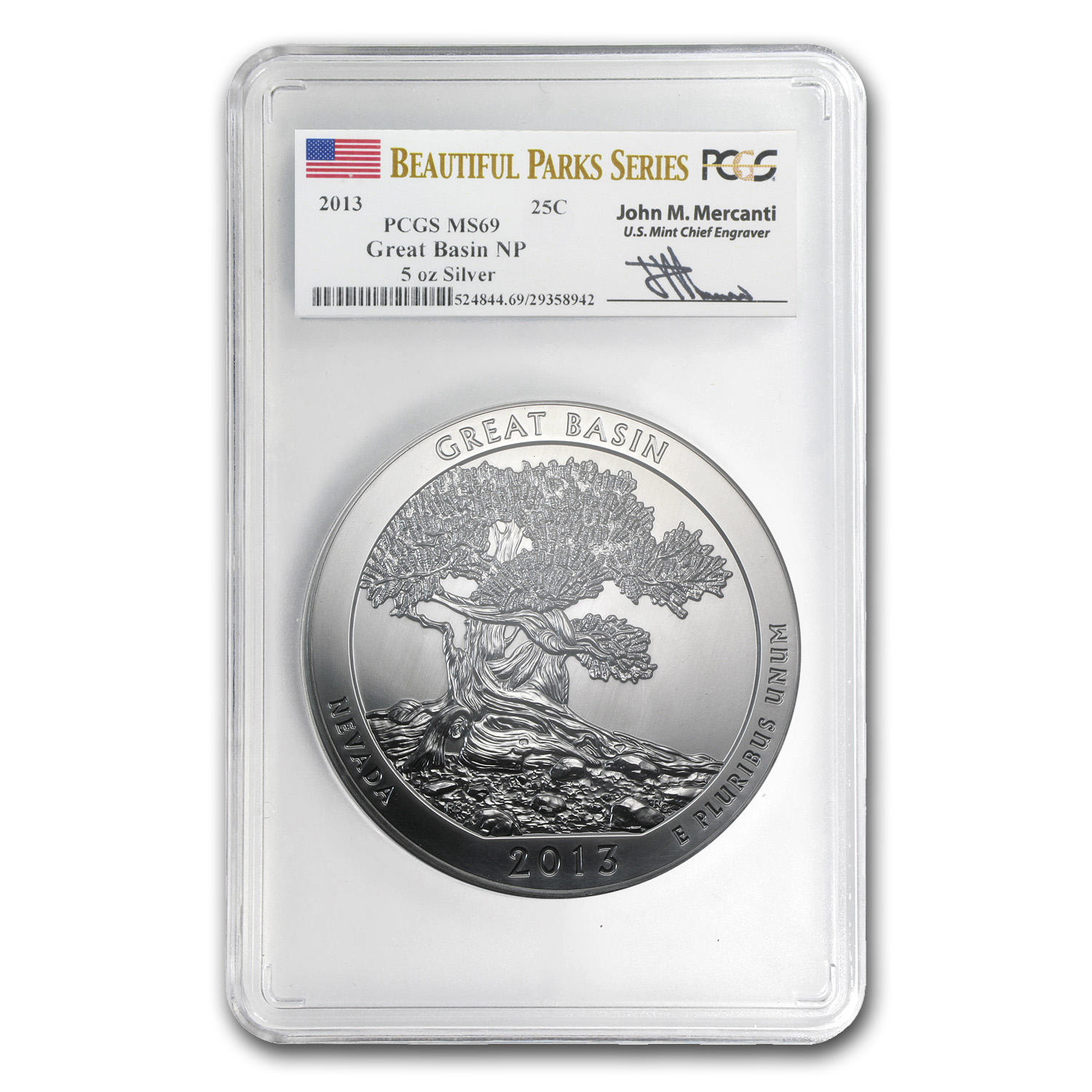 2013 5 oz Silver ATB - Great Basin MS-69 PCGS - Mercanti